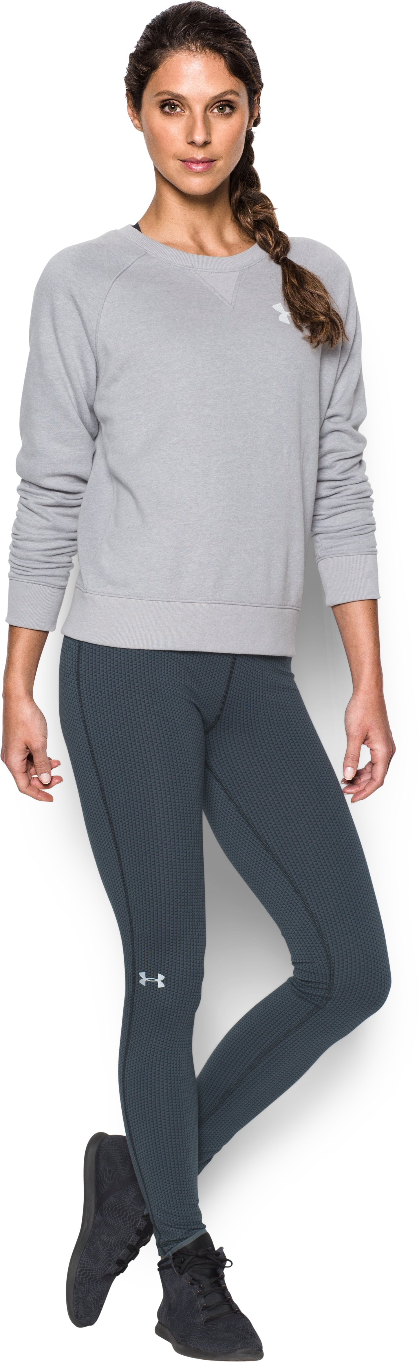 Women's UA Favorite Checkpoint Leggings, STEALTH GRAY, Front