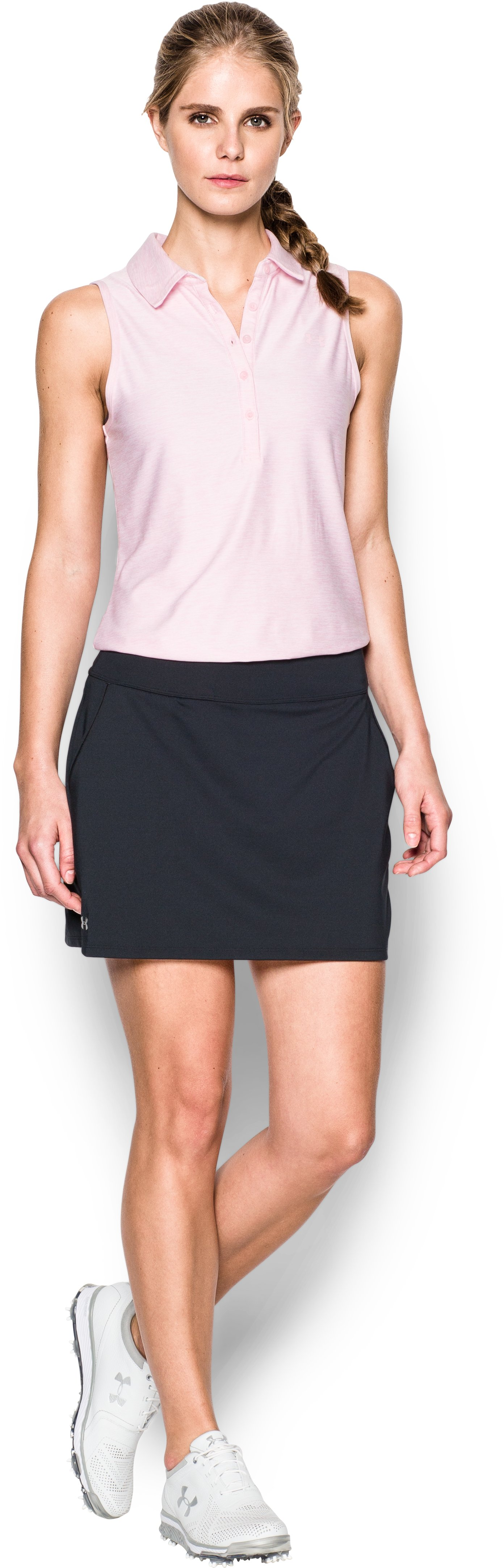 Women's UA Links Knit Skort, Black , Front