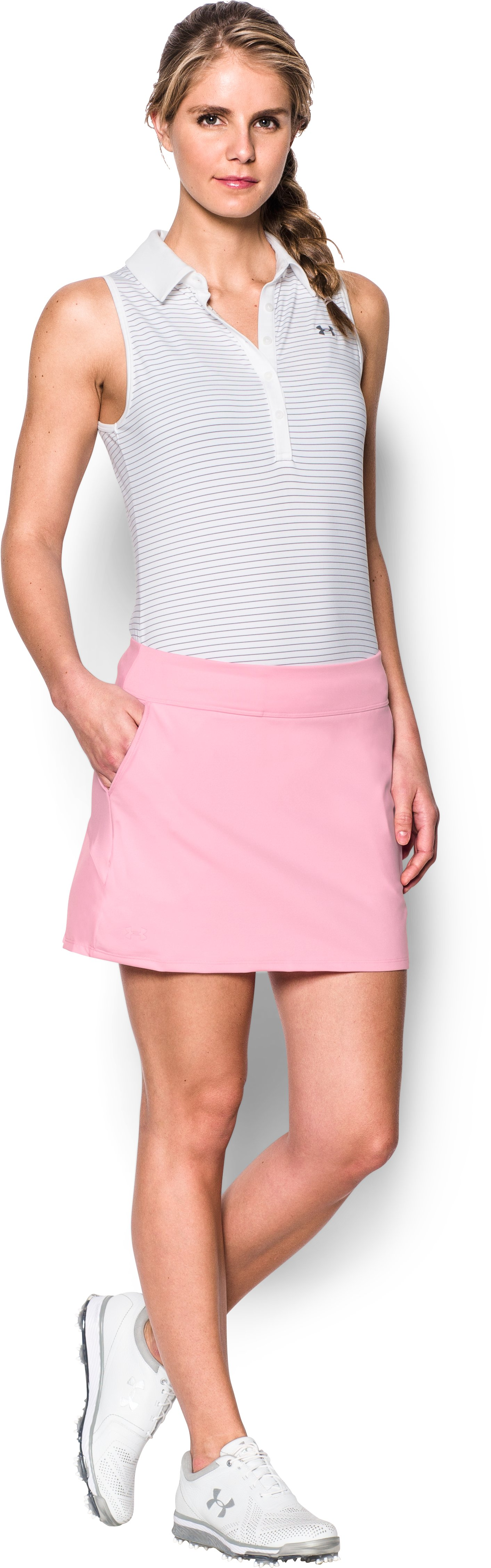 Women's UA Links Knit Skort, Pink, Front