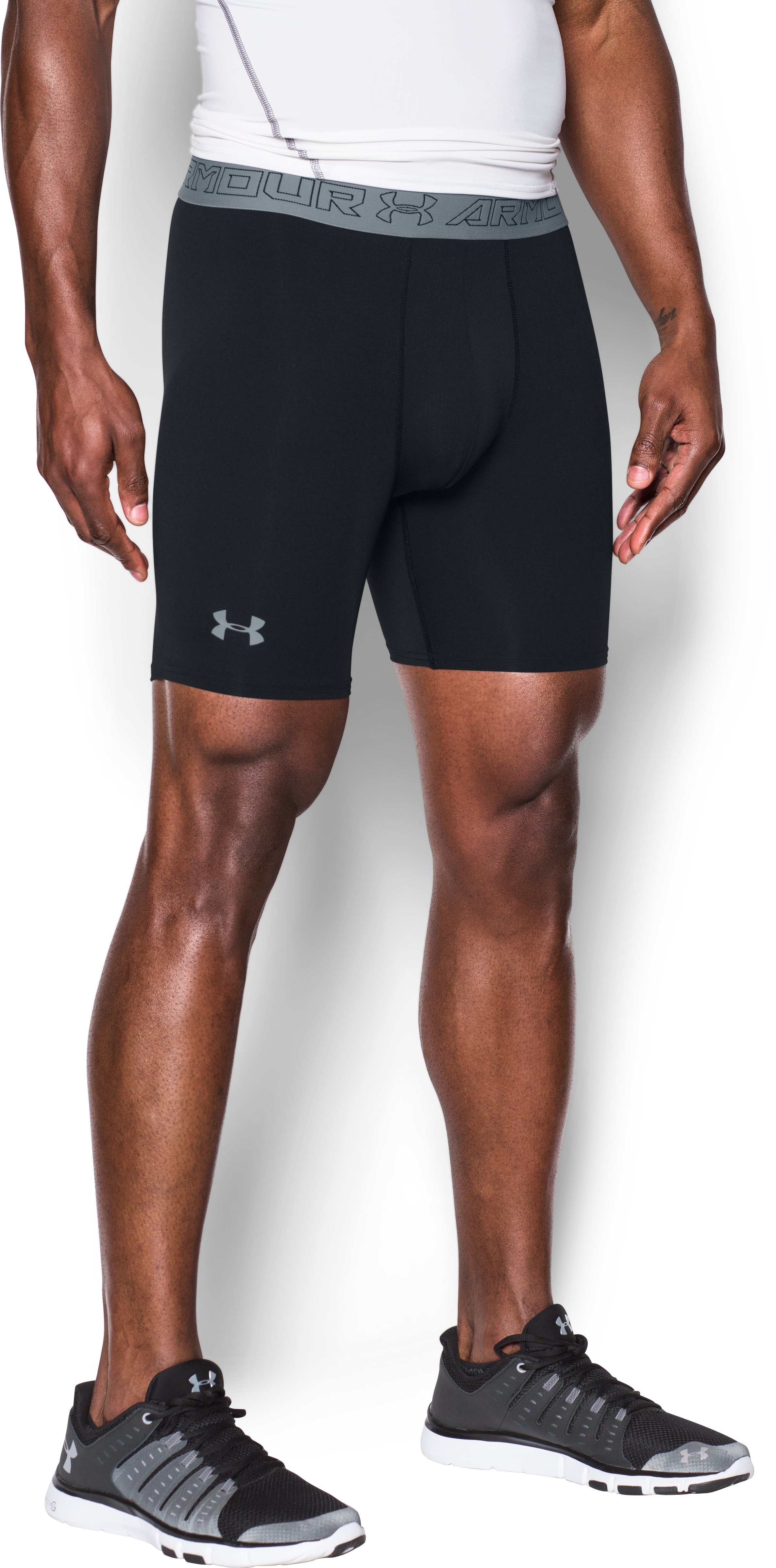 Men's UA HeatGear® Armour Compression Shorts w/ Cup Pocket, Black , undefined