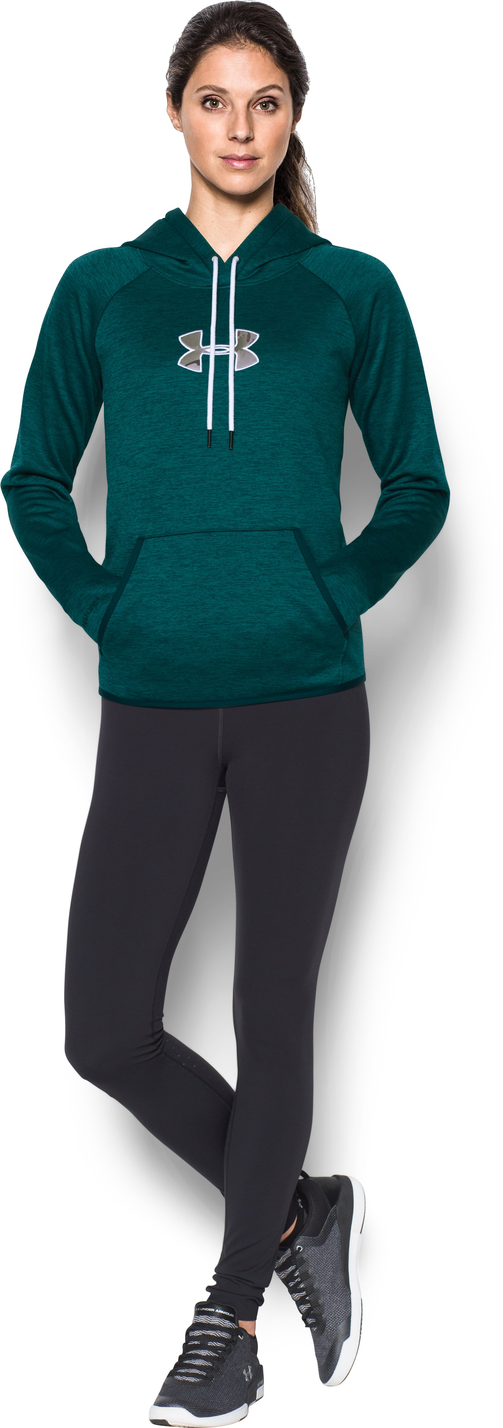 Women's UA Caliber Hoodie, ARDEN GREEN, zoomed image