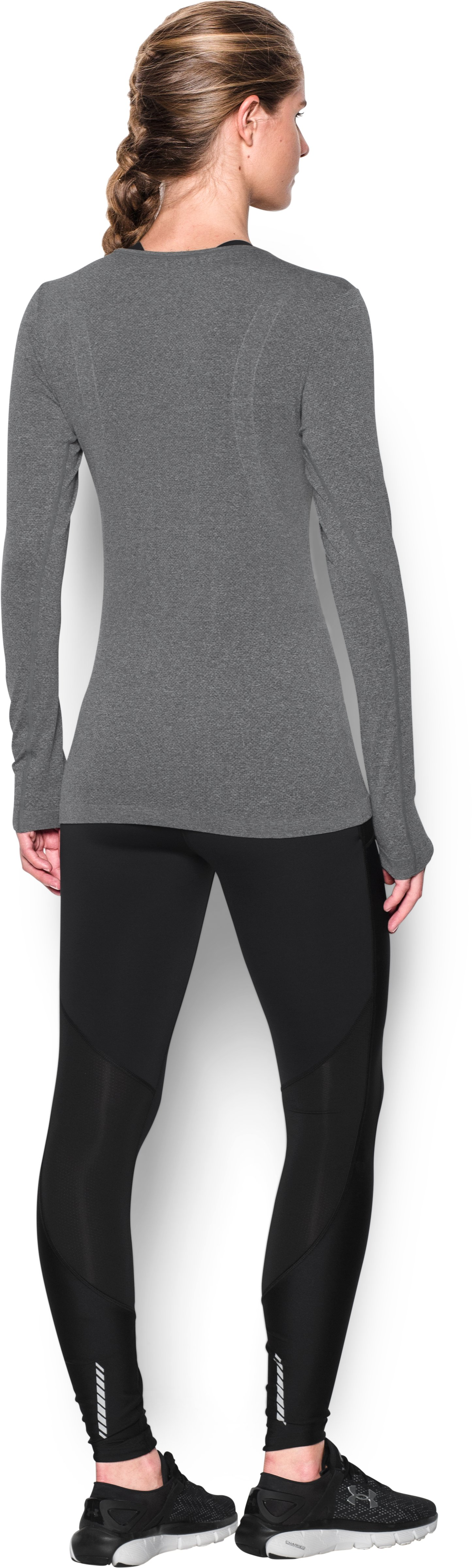 Women's UA Threadborne Seamless Heathered Long Sleeve, Carbon Heather, Back