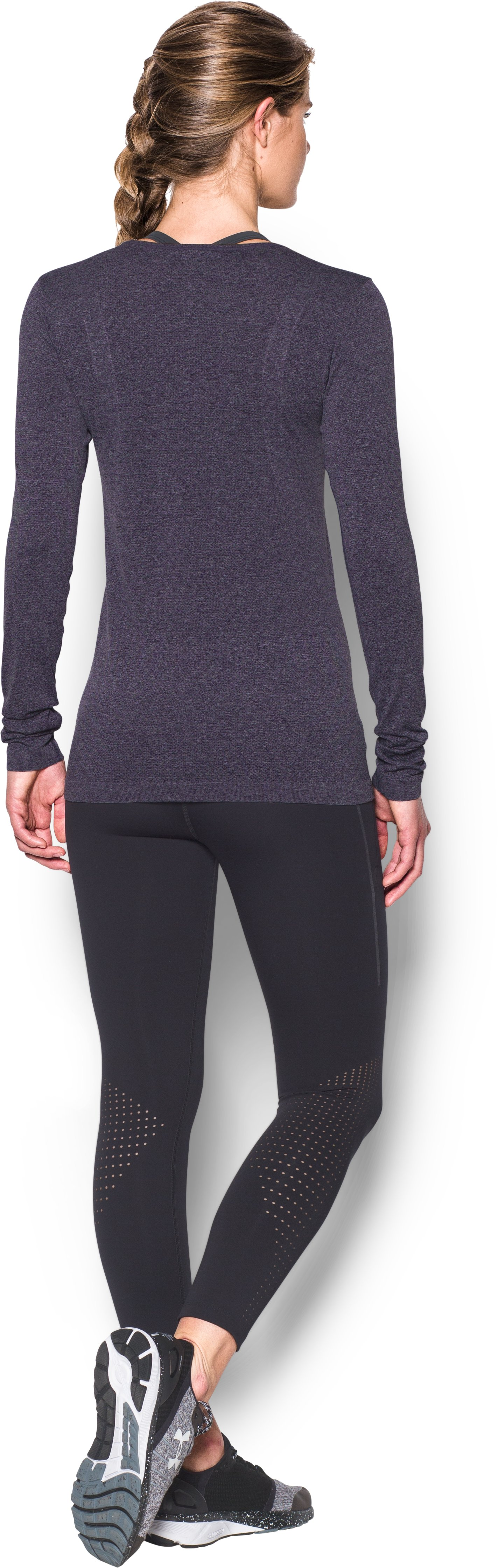 Women's UA Threadborne Seamless Heathered Long Sleeve, IMPERIAL PURPLE, Back