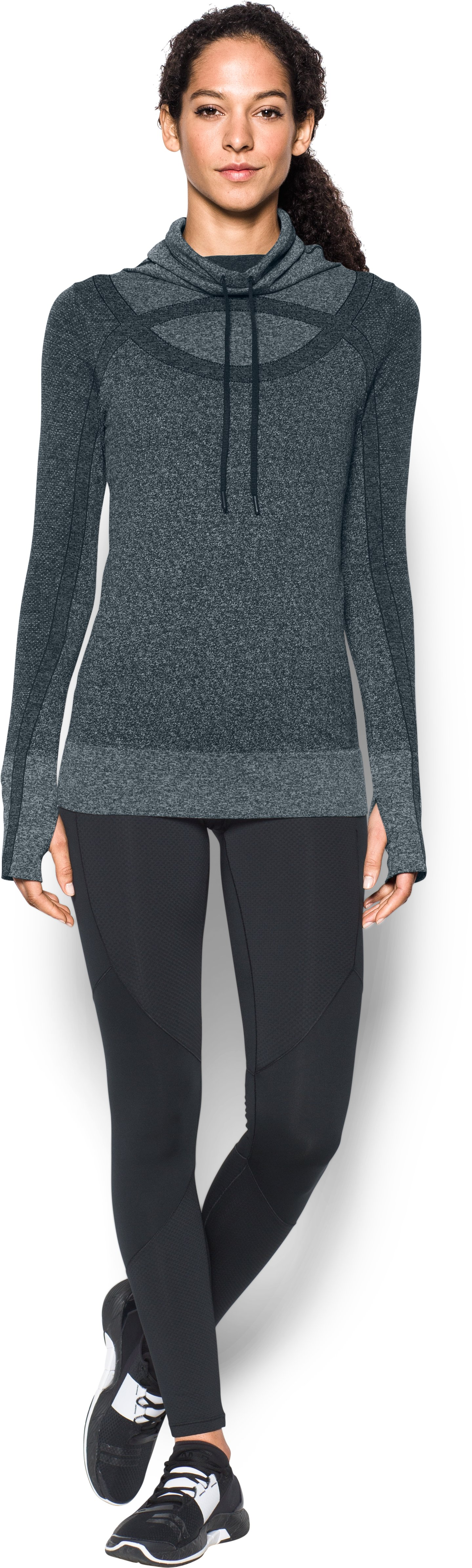 Women's UA Threadborne™ Seamless Heathered Funnel Neck, ANTHRACITE