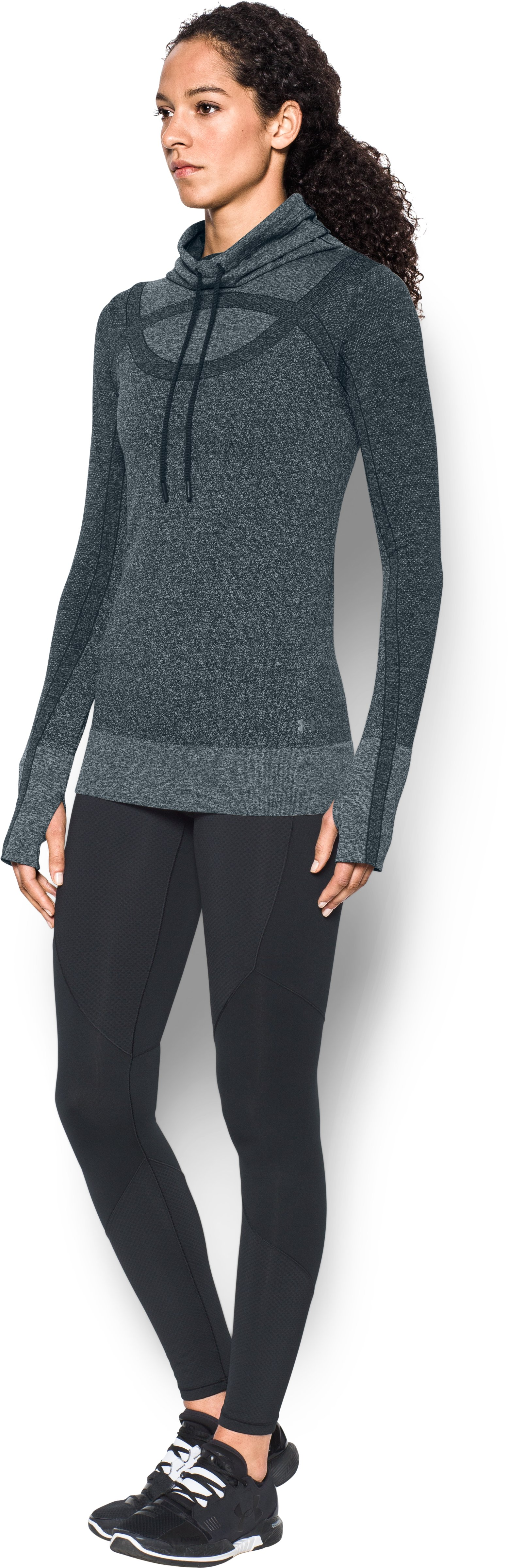 Women's UA Threadborne™ Seamless Heathered Funnel Neck, ANTHRACITE,