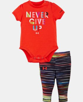 New Arrival Girls' Newborn UA Never Give Up Bodysuit Set  1 Color $26.99