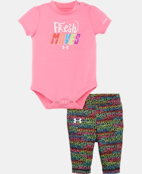 New to Outlet Girls' Newborn UA Fresh Moves Bodysuit Set  1 Color $26.99