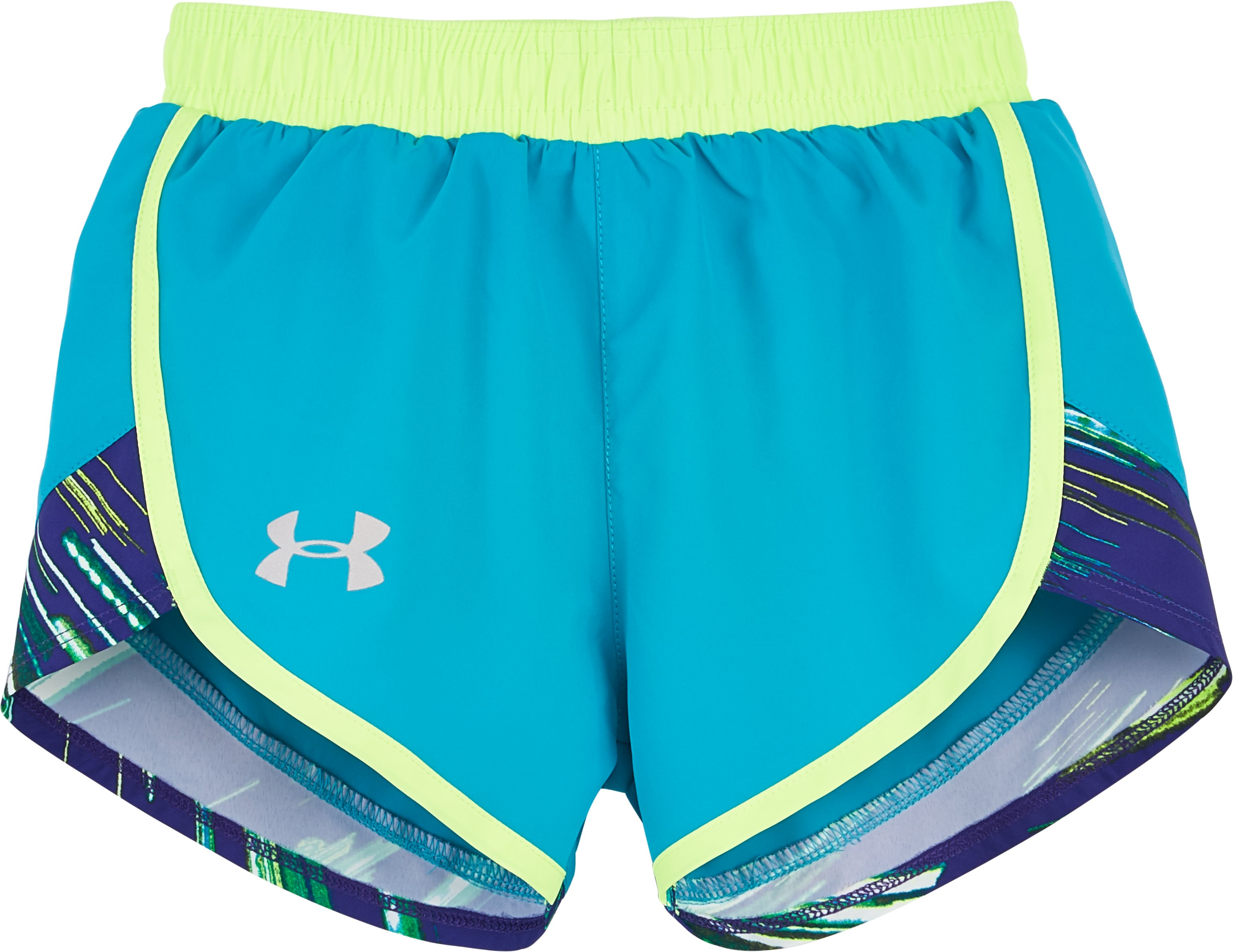 Girls' Pre-School UA Fast Lane Run Shorts, BOLD AQUA, Laydown