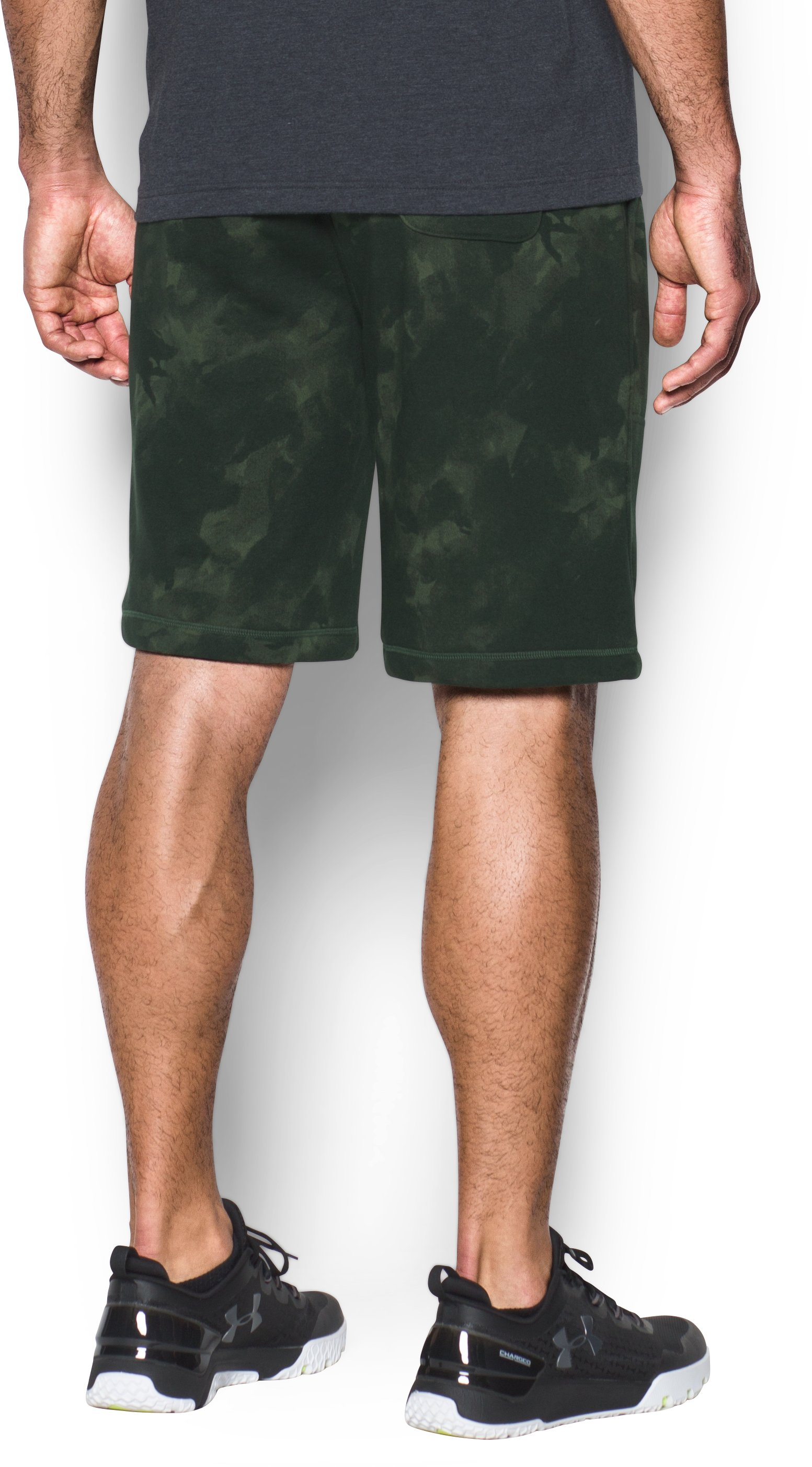 Men's UA Terry Graphic Shorts, Rifle Green, undefined
