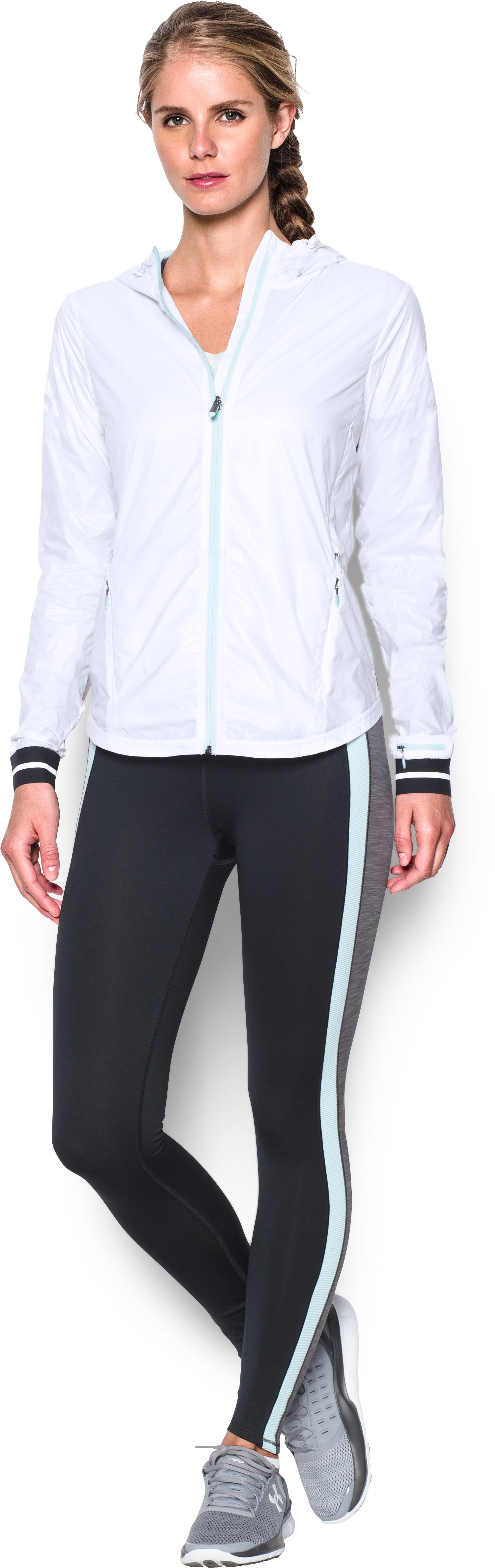 Women's UA Layered Up Embossed Jacket, White, Front