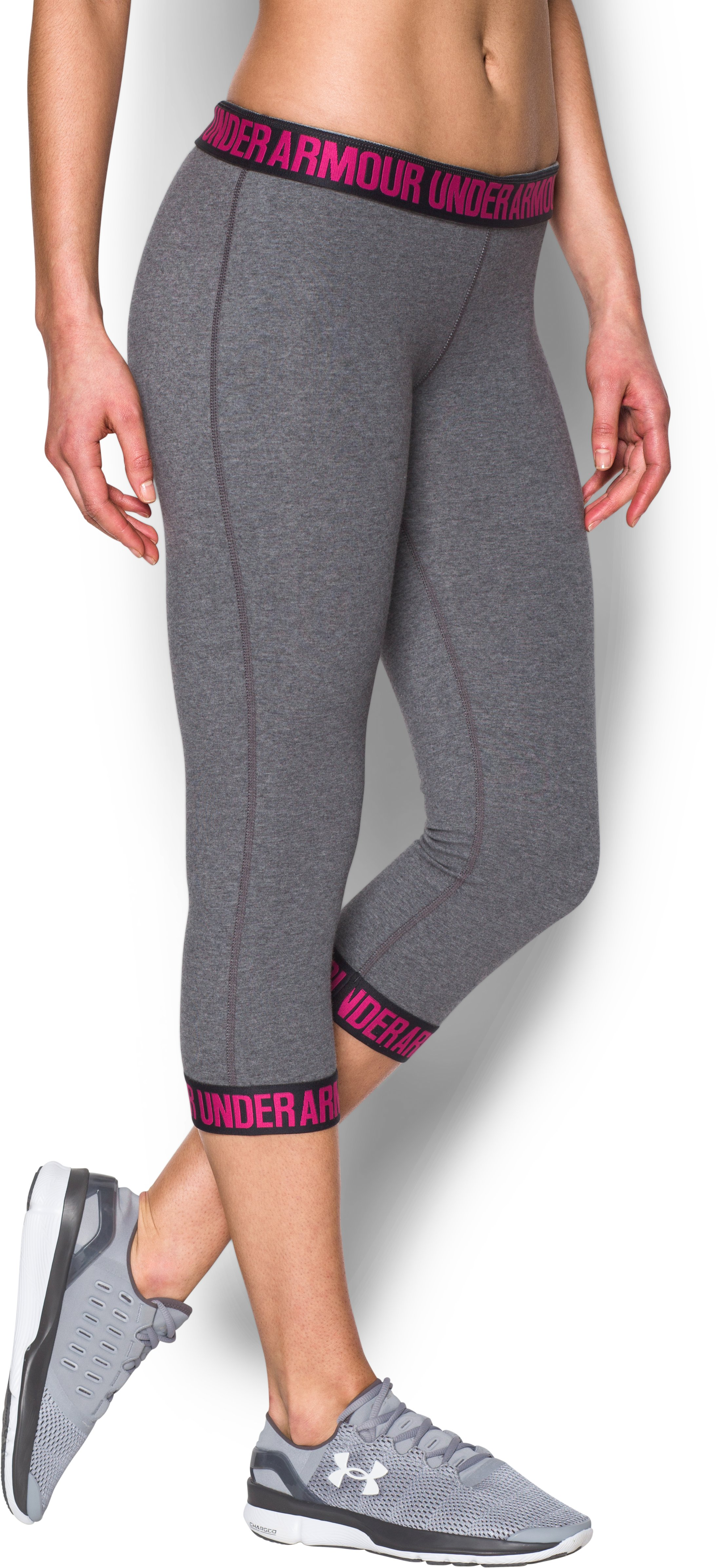Women's UA Power In Pink® Favorite Capris, Carbon Heather,