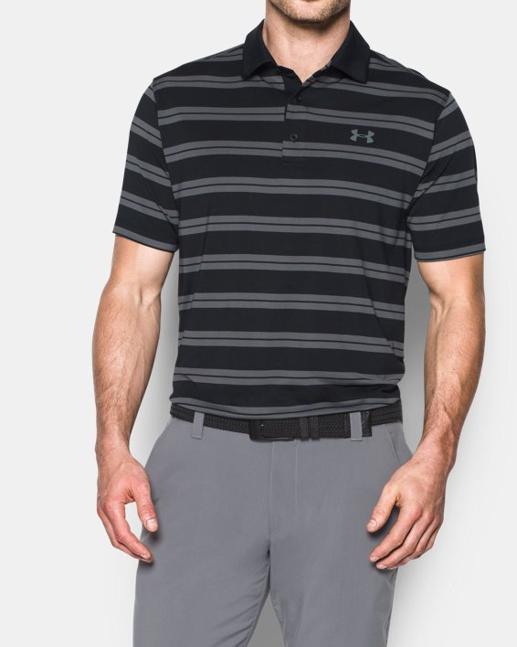 Men's UA Groove Stripe Polo, Black, pdpMainDesktop image number 0