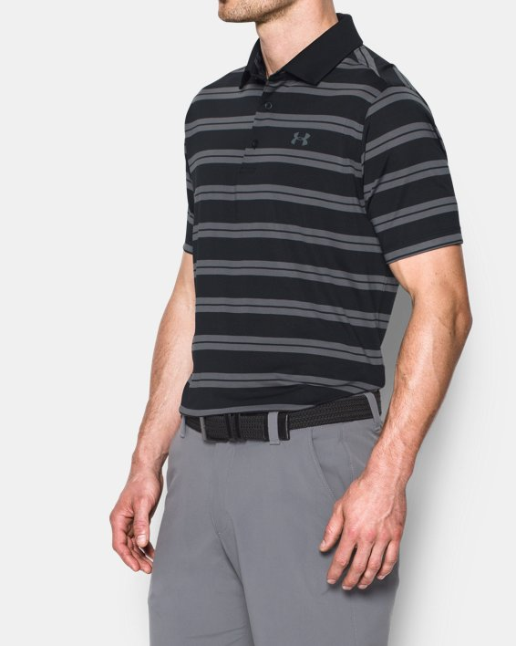Men's UA Groove Stripe Polo, Black, pdpMainDesktop image number 1