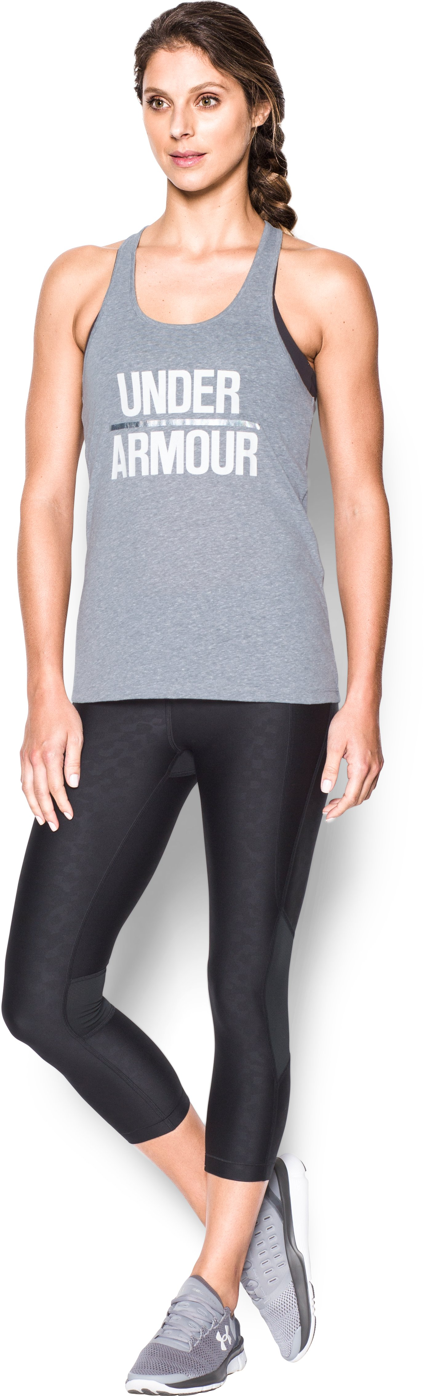 Women's UA Foil Word Mark Tank, True Gray Heather, zoomed image