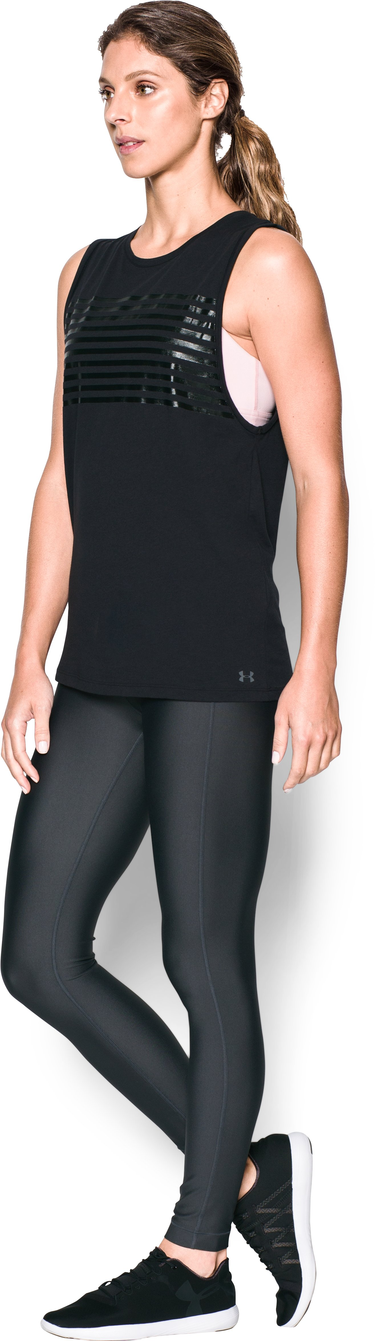 Women's UA Foil Cotton Modal Muscle Tank, Black