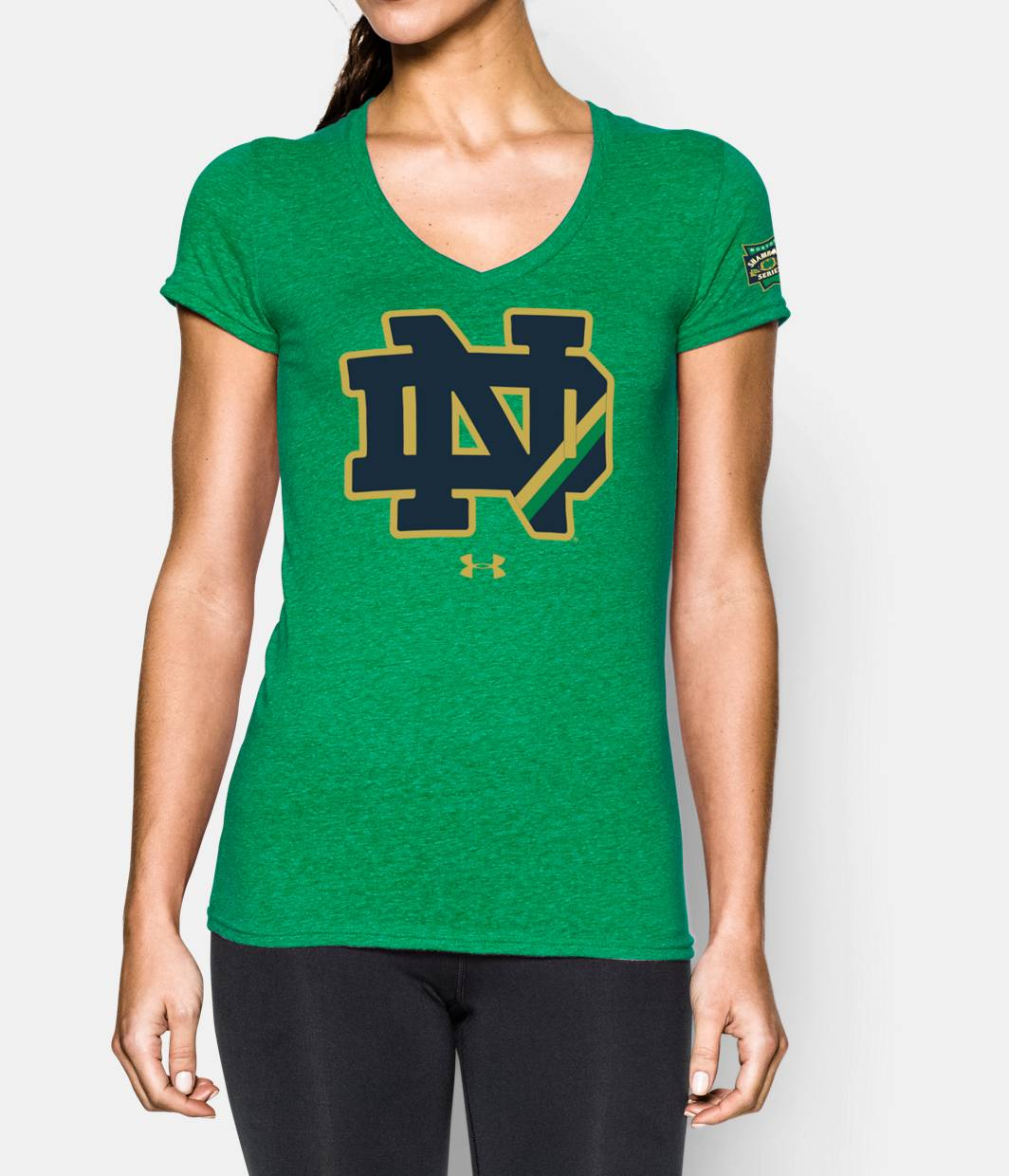 Women 39 s 2015 notre dame logo t shirt under armour us for Notre dame tee shirts