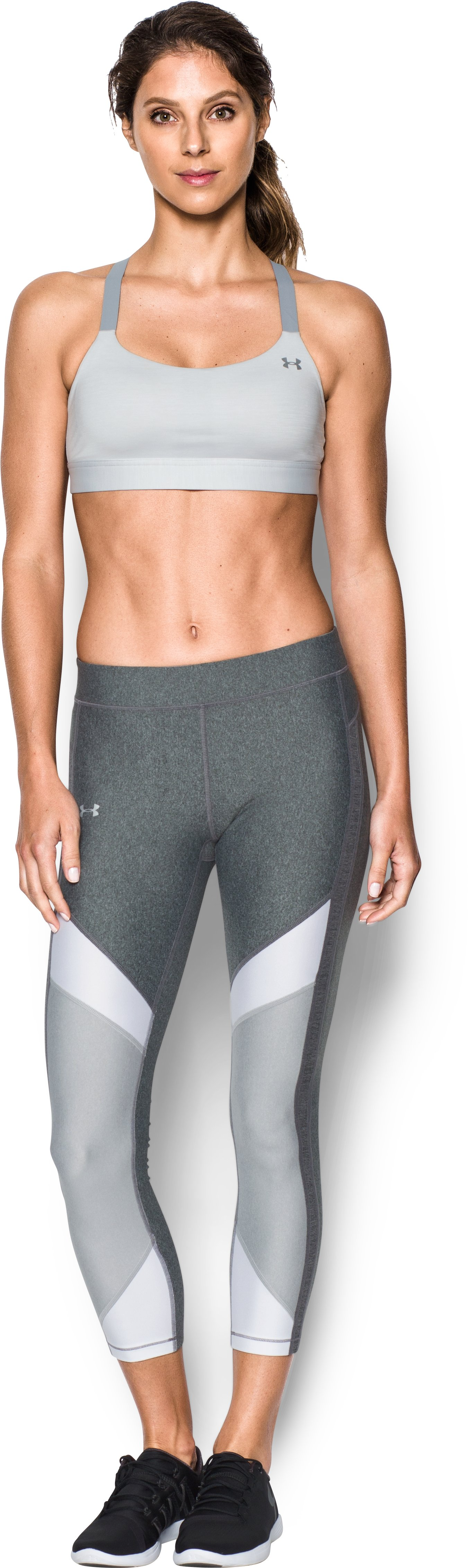 Women's Armour® Eclipse Heather Mid Impact Sports Bra, AIR FORCE GRAY HEATHER, zoomed image