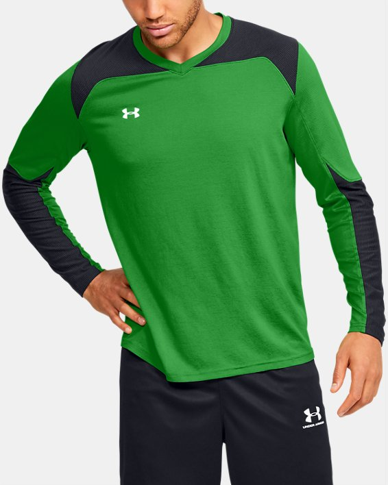 Men's UA Threadborne Wall Goalkeeper Jersey, Green, pdpMainDesktop image number 0