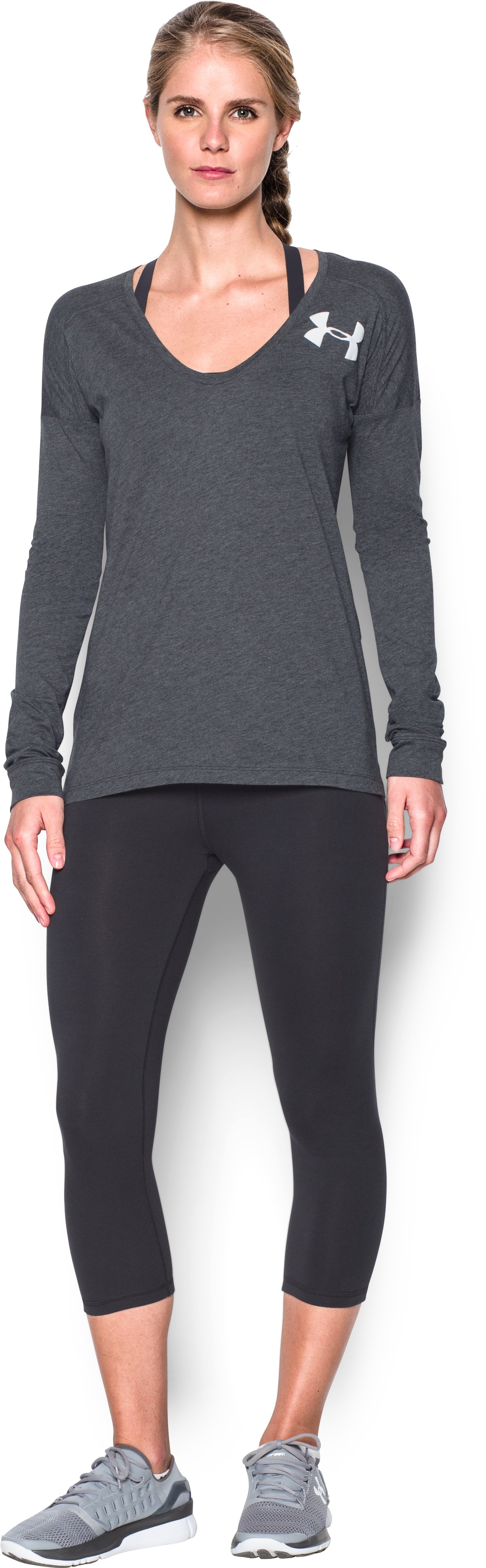 Women's UA Favorite Word Mark Long Sleeve, Carbon Heather, Front