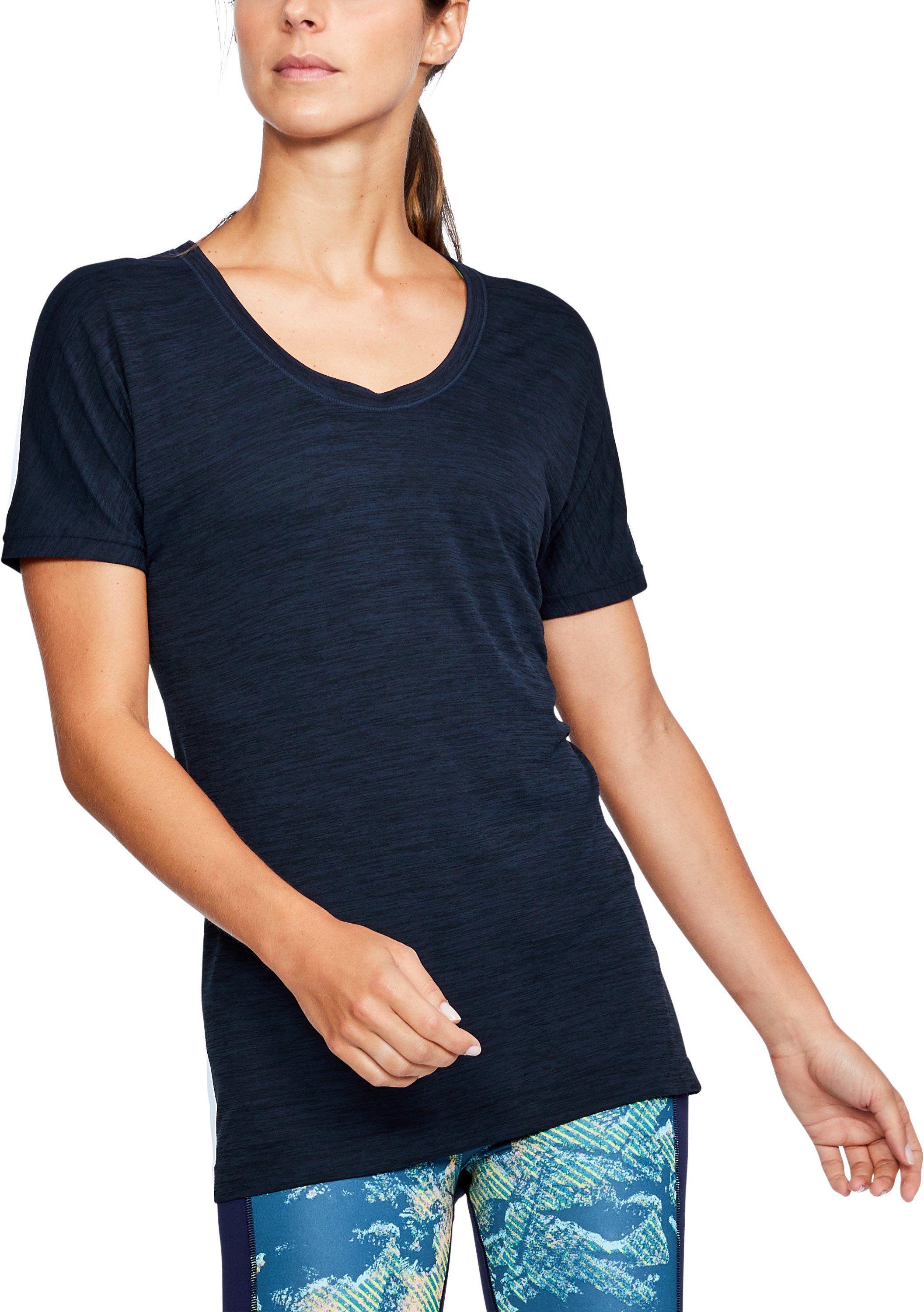 Women's UA Threadborne Seamless Heathered Split T-Shirt, BLACK FADE HEATHER,