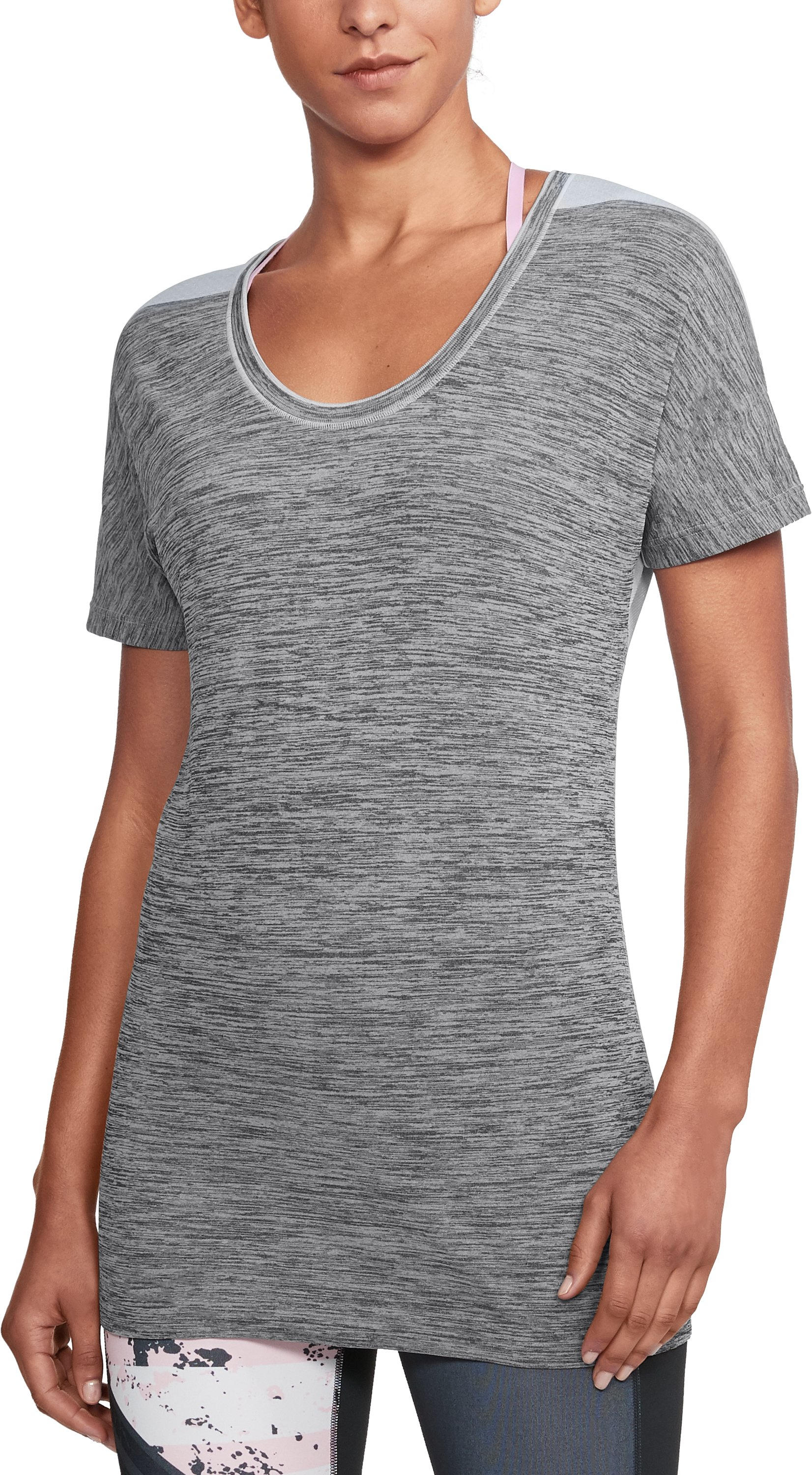 Women's UA Threadborne Seamless Heathered Split T-Shirt, Carbon Heather
