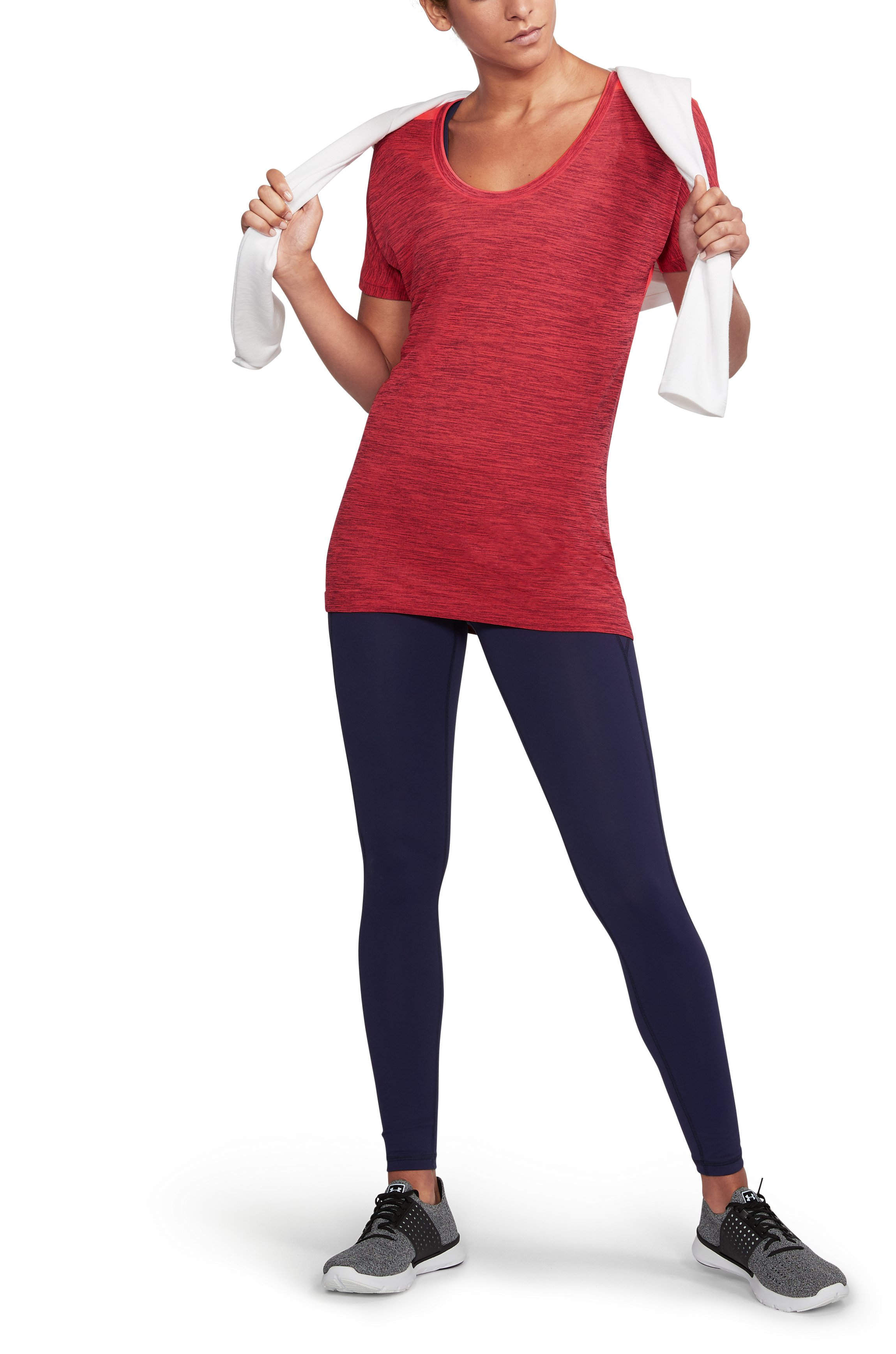 Women's UA Threadborne Seamless Heathered Split T-Shirt, RAISIN RED, undefined