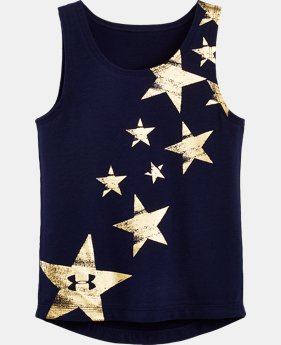 New Arrival Girls' Pre-School UA Red White & Gold Tank    $21.99