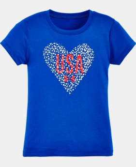 New Arrival Girls' Pre-School UA Heart USA Short Sleeve T-Shirt  1 Color $13.99