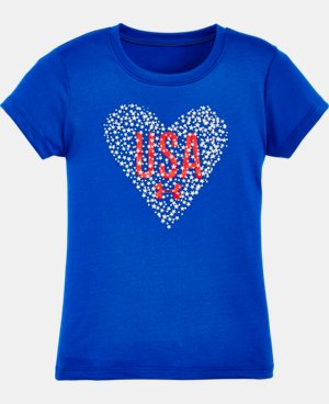 New Arrival Girls' Pre-School UA Heart USA Short Sleeve T-Shirt LIMITED TIME: FREE U.S. SHIPPING 1 Color $13.99