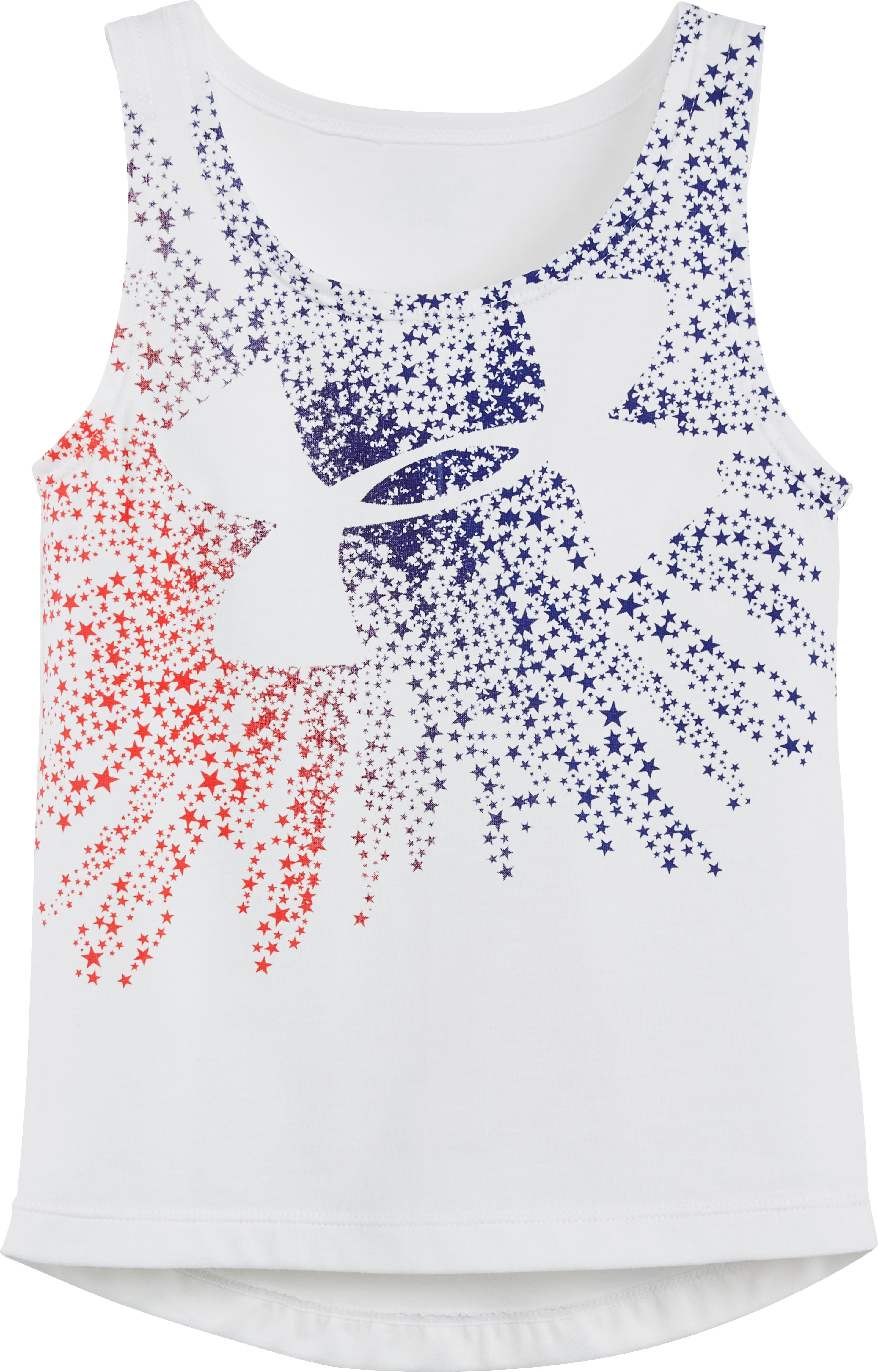 Girls' Pre-School UA Shooting Star Big Logo Short Sleeve T-Shirt, White, Laydown