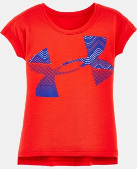 Girls' Pre-School UA Airwaves Jumbo Big Logo Short Sleeve T-Shirt   $24.99