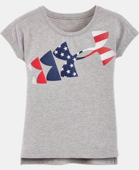 New Arrival Girls' Pre-School UA American Flag Short Sleeve T-Shirt LIMITED TIME: FREE SHIPPING 1 Color $24.99