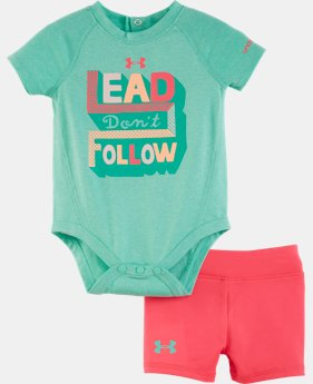 Girls' Newborn UA Starburst Logo Bodysuit Set LIMITED TIME: FREE SHIPPING 1 Color $32.99
