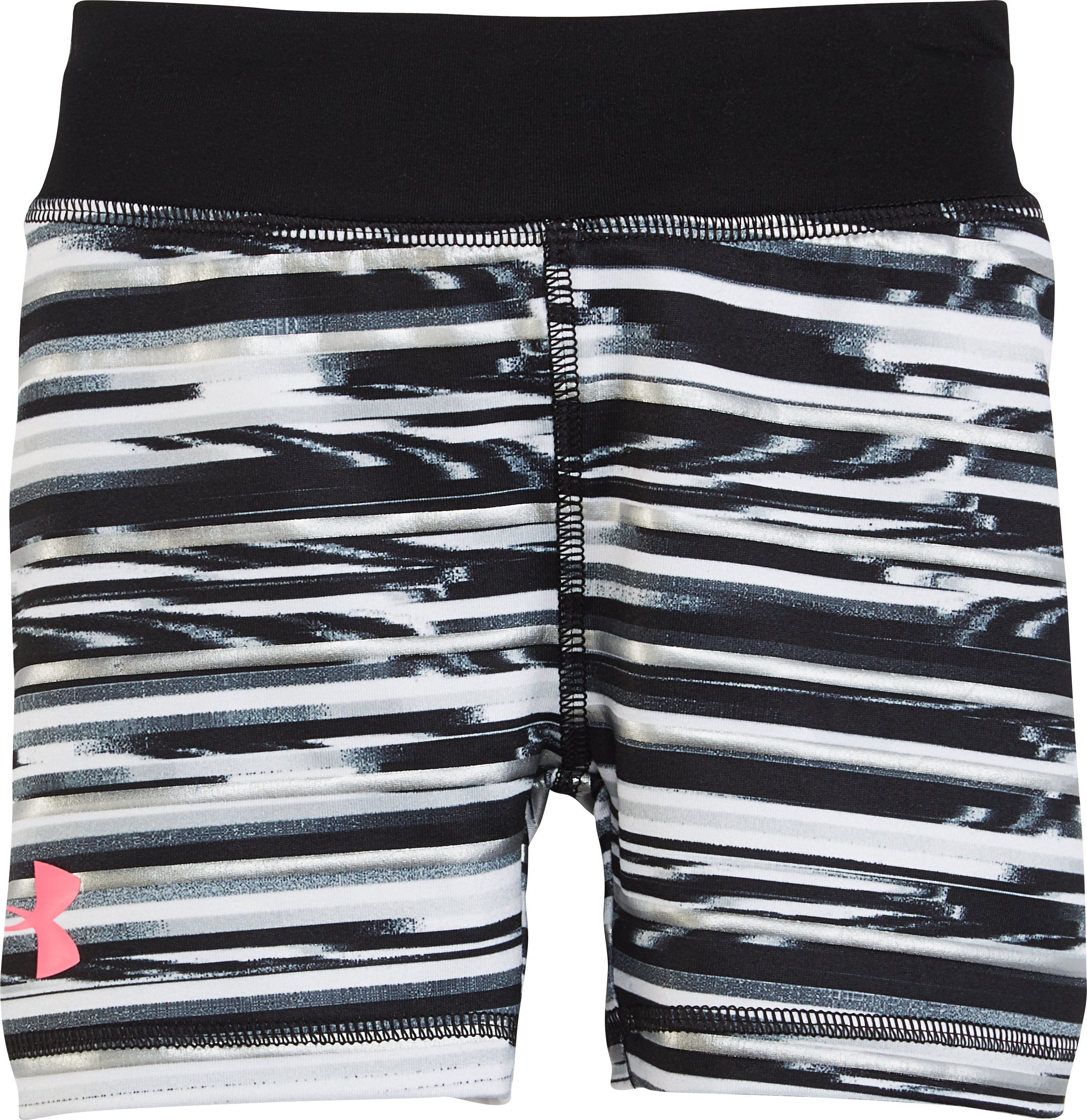 Girls' Pre-School UA Linked Shimmer Bike Shorts, Black , Laydown