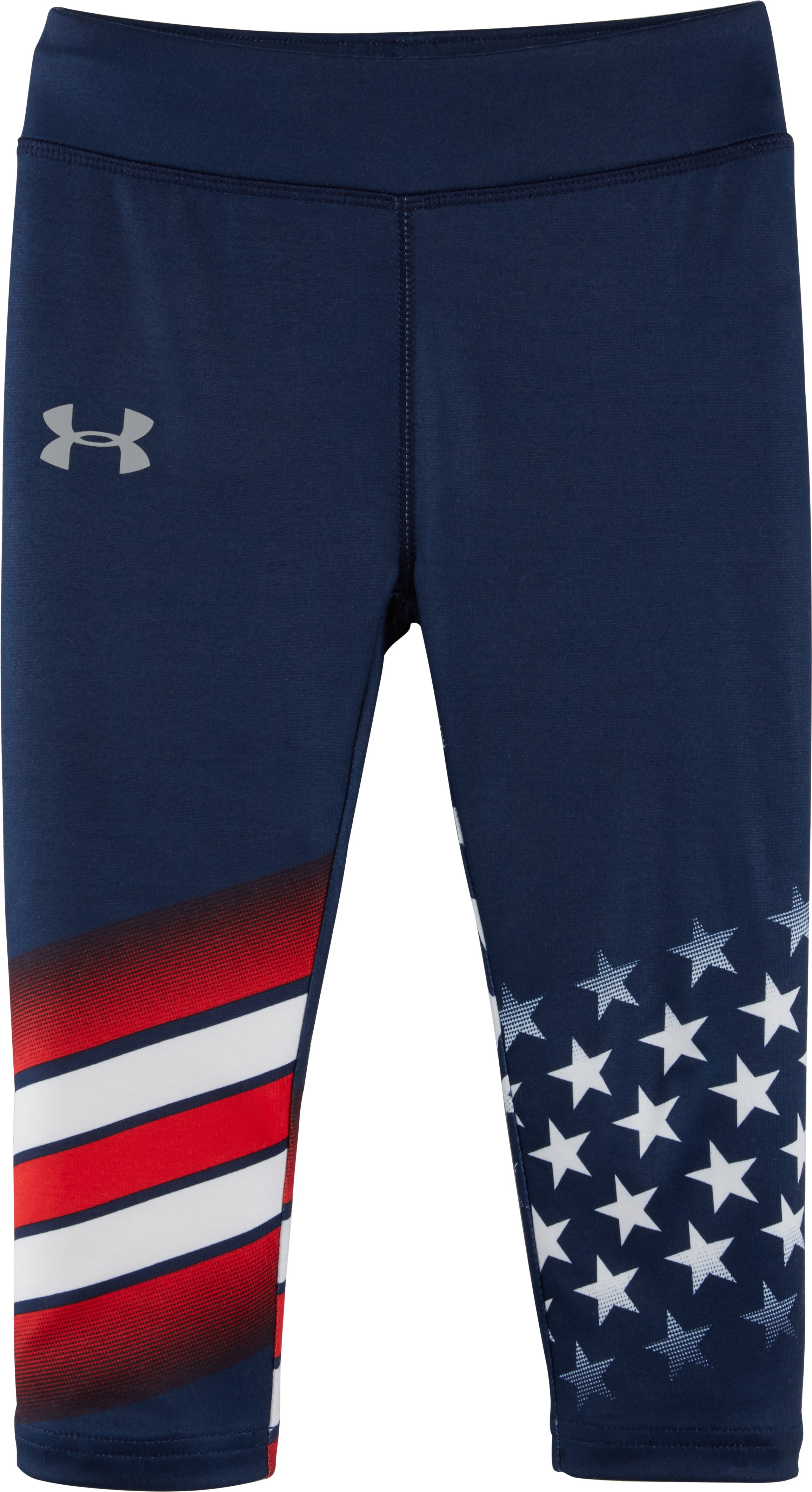 Girls' Pre-School UA USA Capris, NAVY SEAL