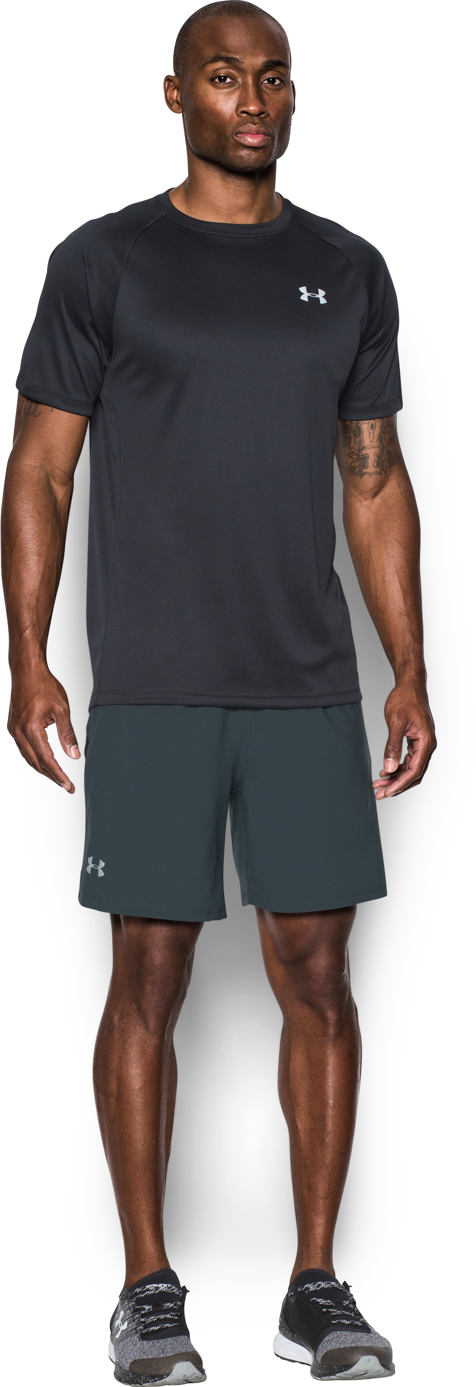 Men's UA Launch SW 7'' Shorts, STEALTH GRAY, Front