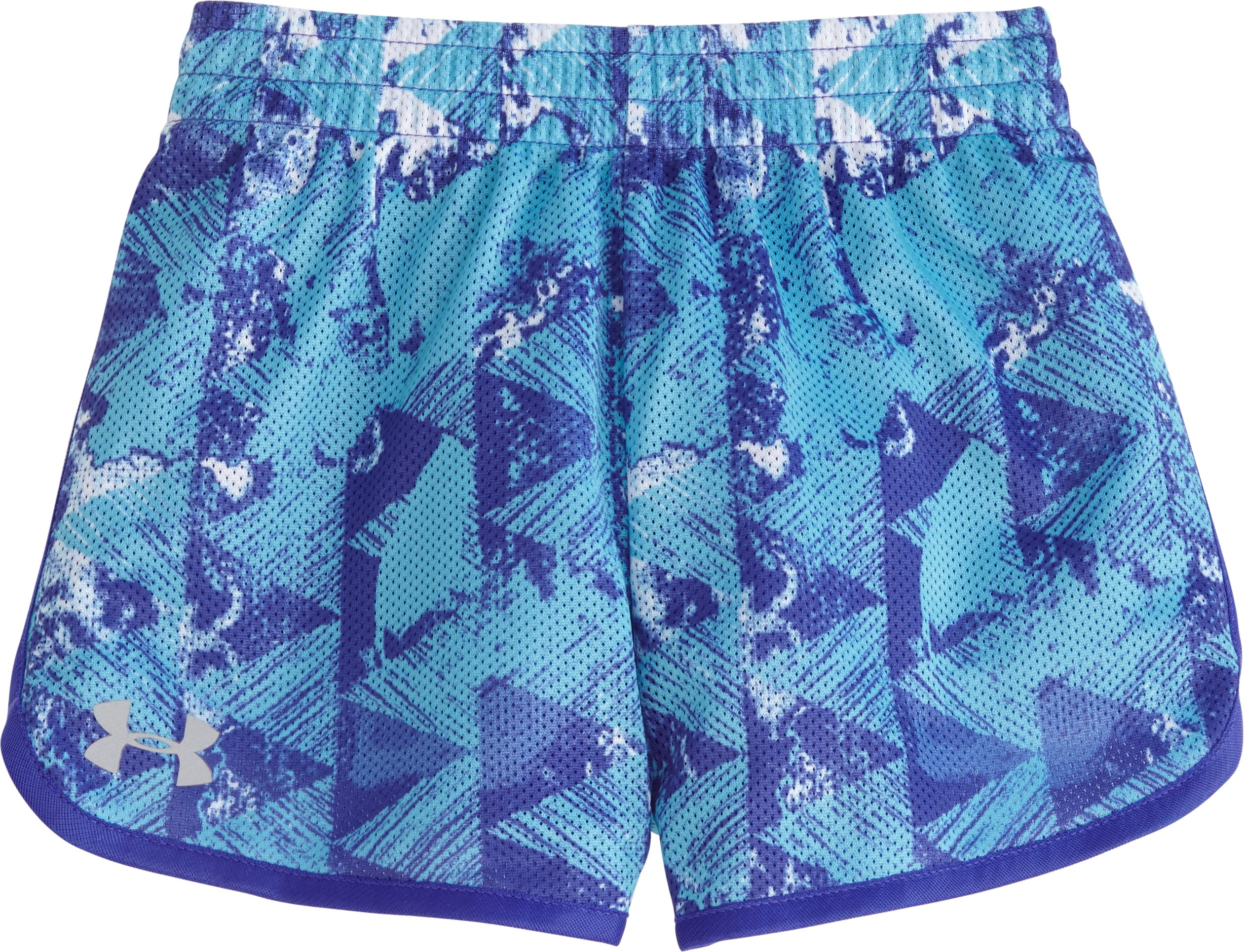 Girls' Toddler UA Knockout Essential Shorts, MERIDIAN BLUE, Laydown