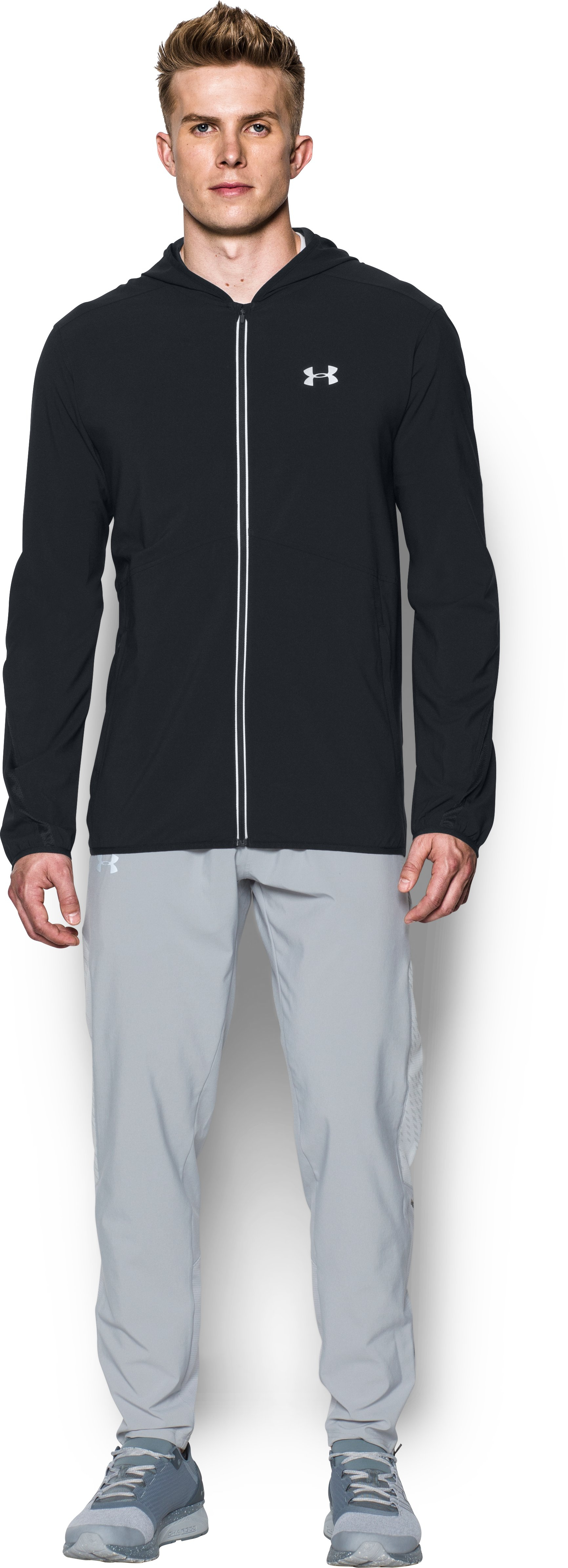 lightweight jackets for running Men's UA Run True Jacket Light and Effective...Lightweight , very nice BUT KIND OF EXPENSIVE AND IT IS BETTER TO BUY IT ONLINE...Great run jacket for temops between 42F and 55F worn over a heatgear short sleeve t-shirt
