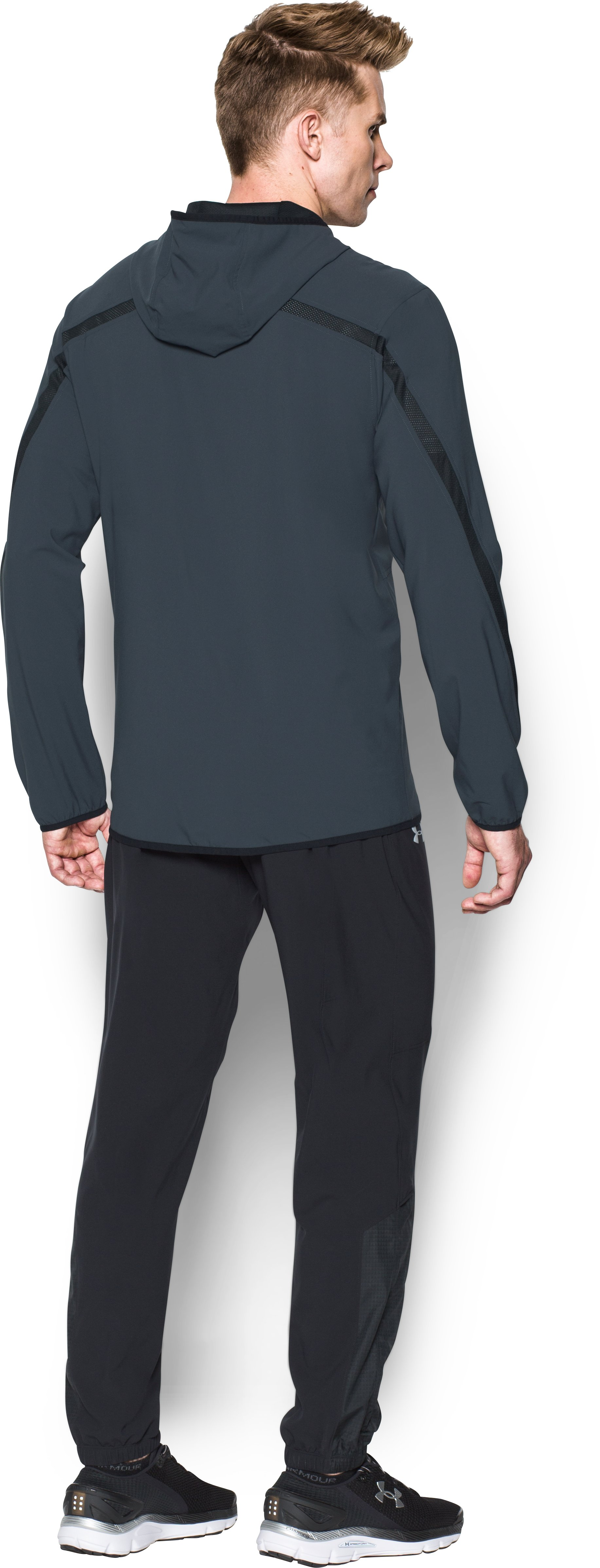 Men's UA Run True Jacket, STEALTH GRAY, Back