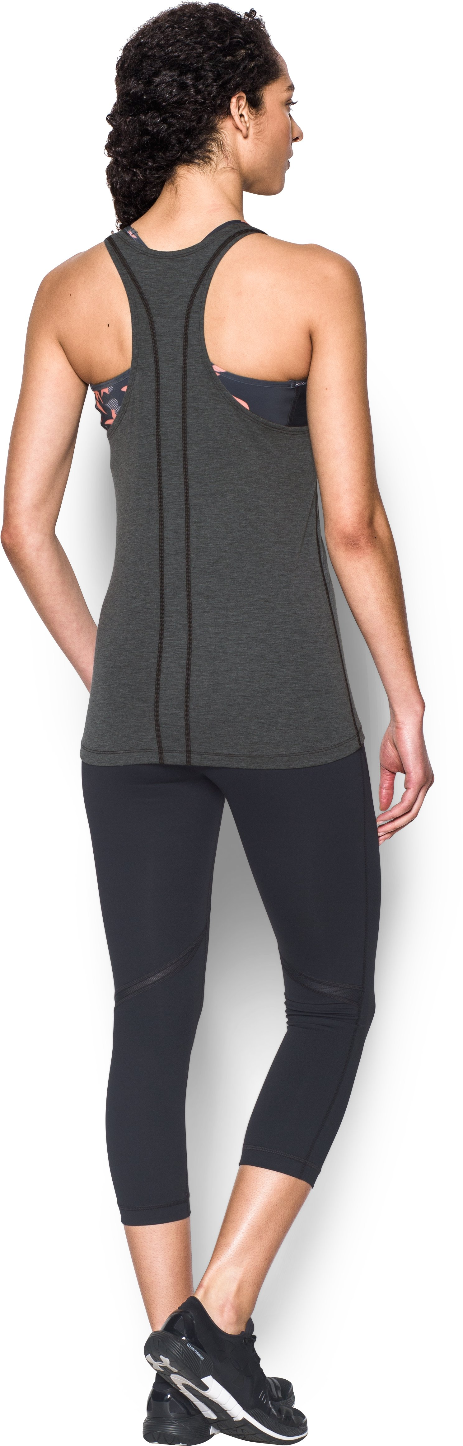 Women's UA Skyward Tank, Asphalt Heather, Back