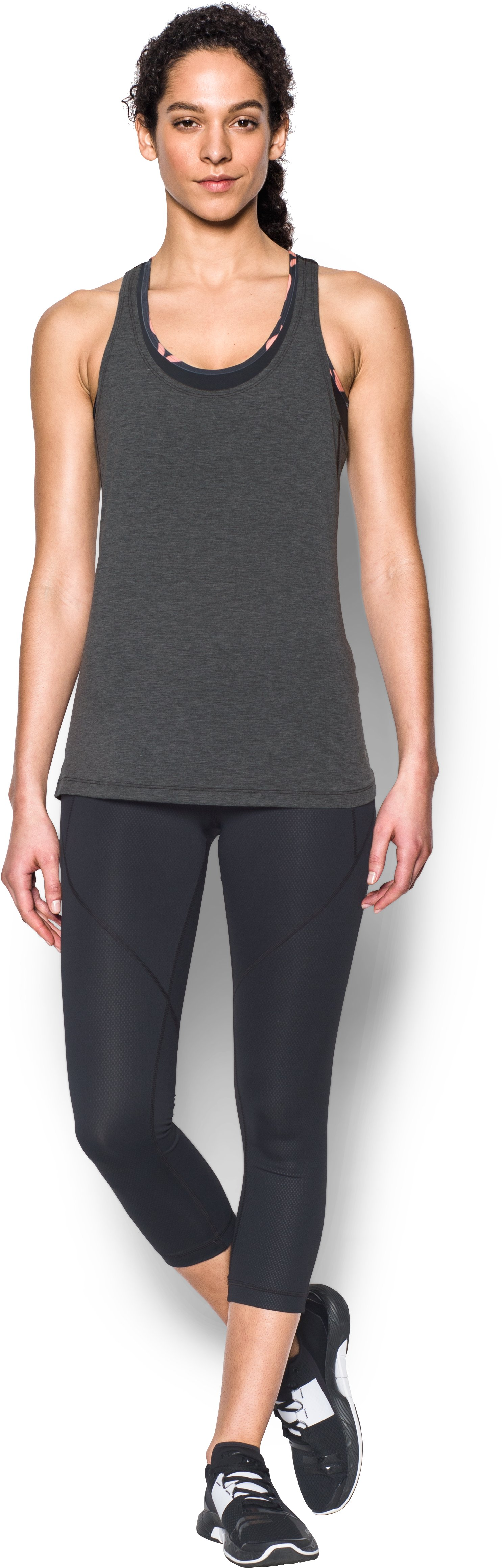 Women's UA Skyward Tank, Asphalt Heather, Front