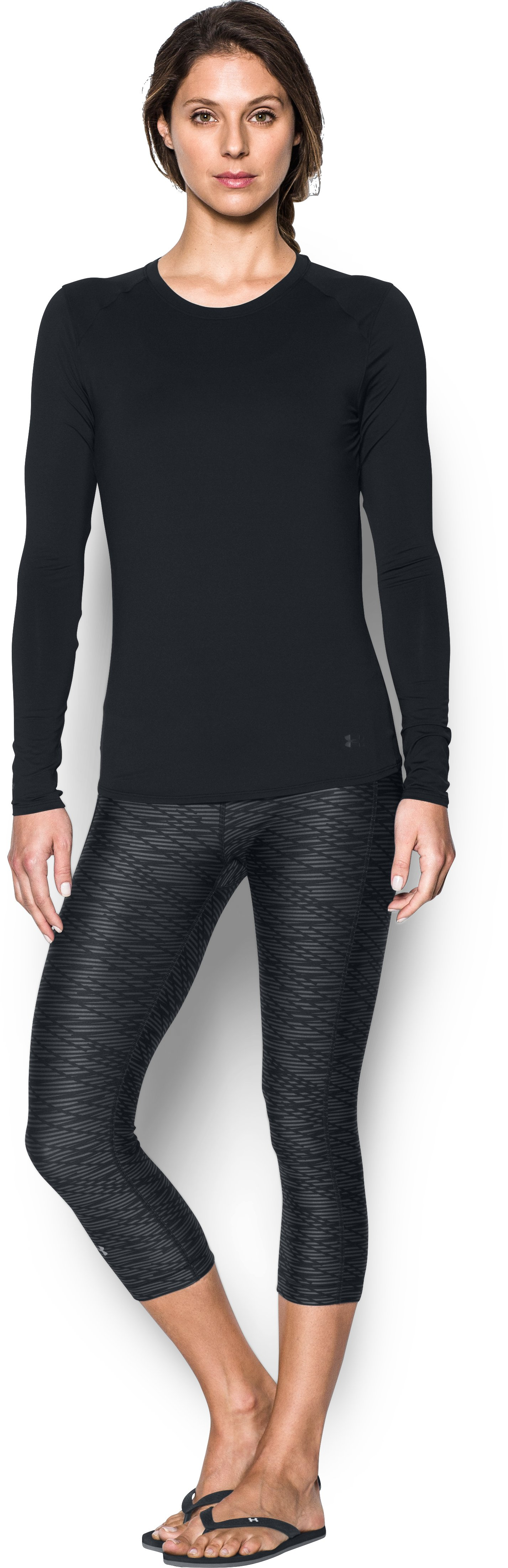 Women's UA 50 Long Sleeve, Black , Front