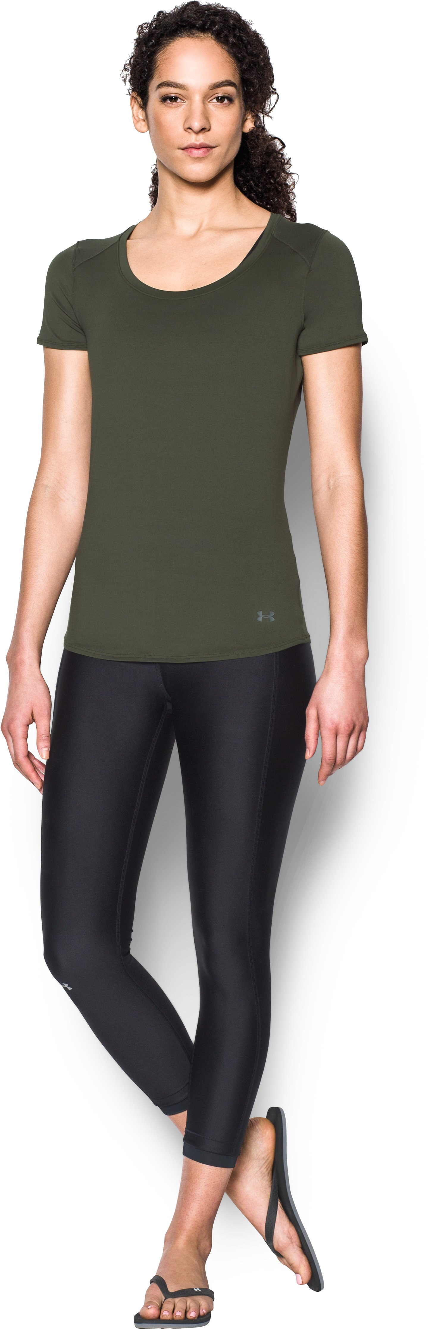 Women's UA 50 Short Sleeve, DOWNTOWN GREEN, Front