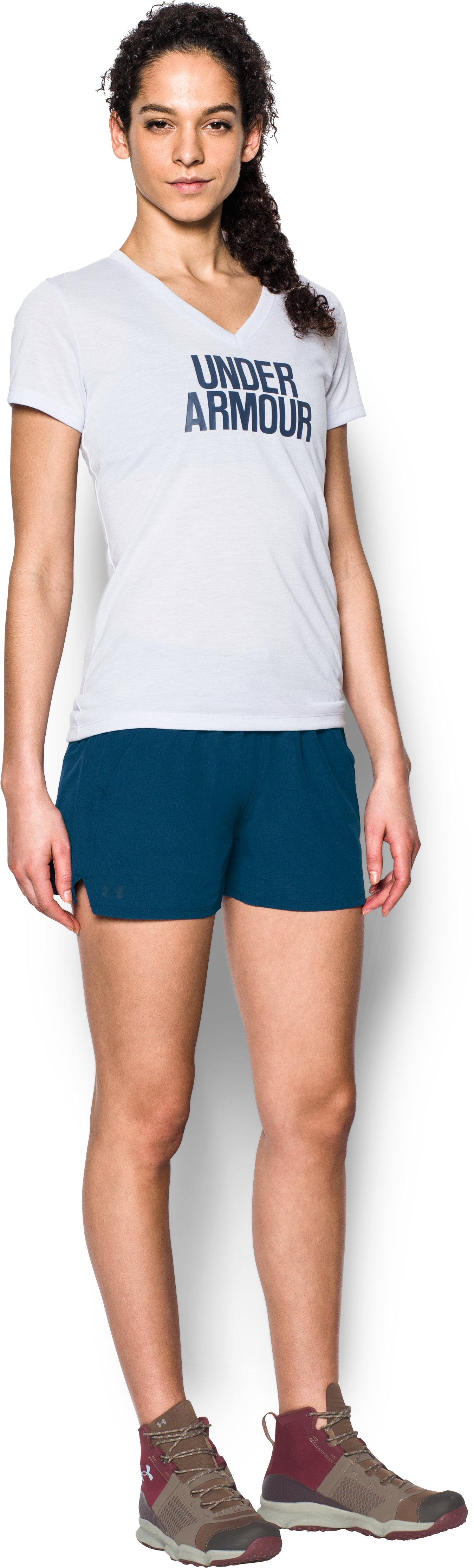 Women's UA Do Anything Shorts, BLACKOUT NAVY, Front