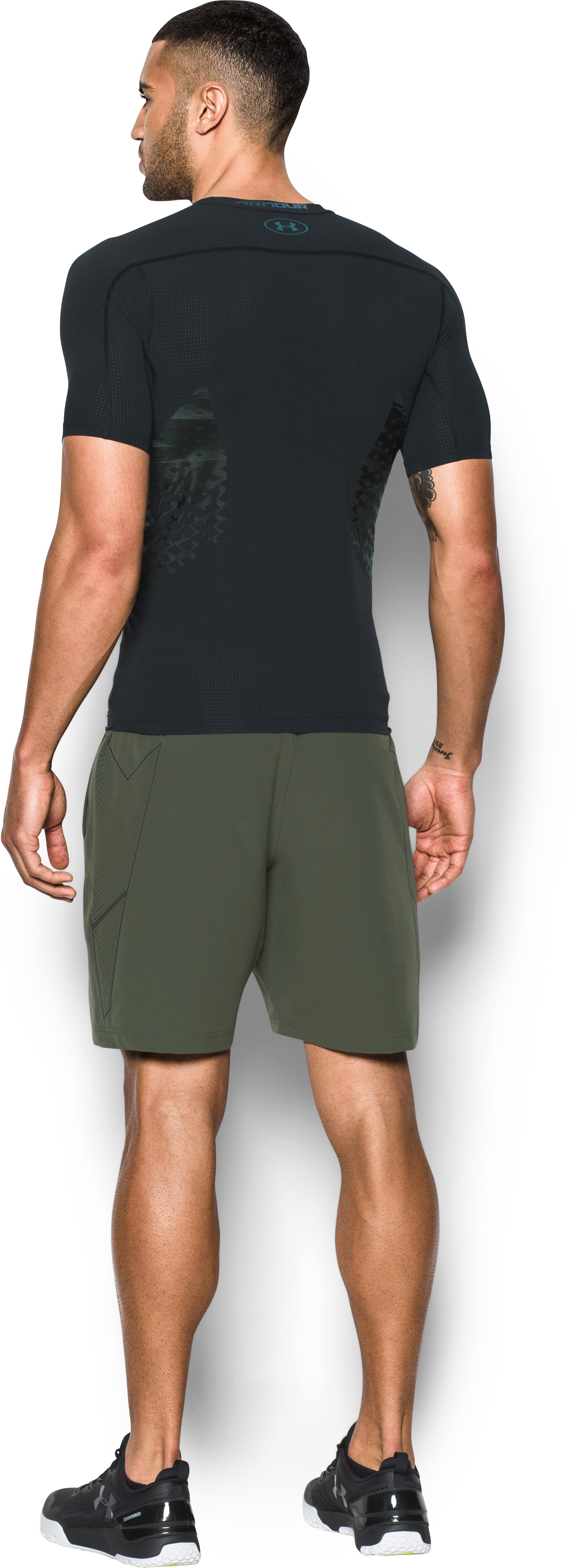 Men's HeatGear® Armour Zone Compression Short Sleeve, Black , Back