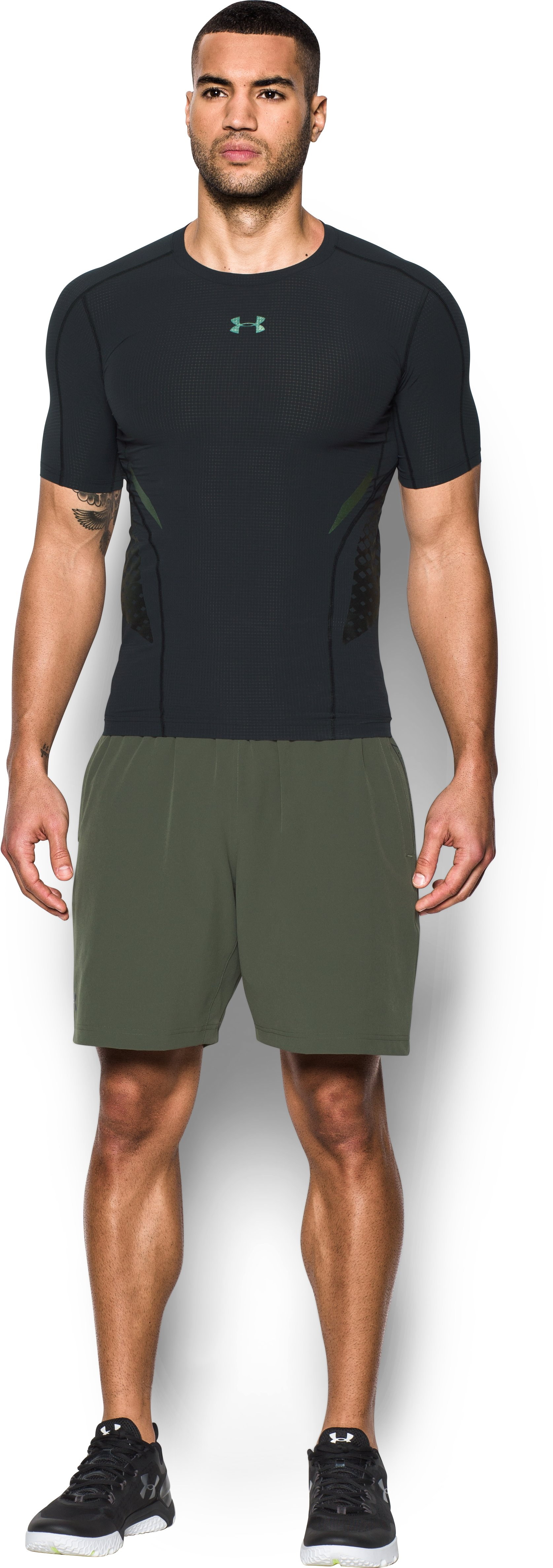 Men's HeatGear® Armour Zone Compression Short Sleeve, Black , Front