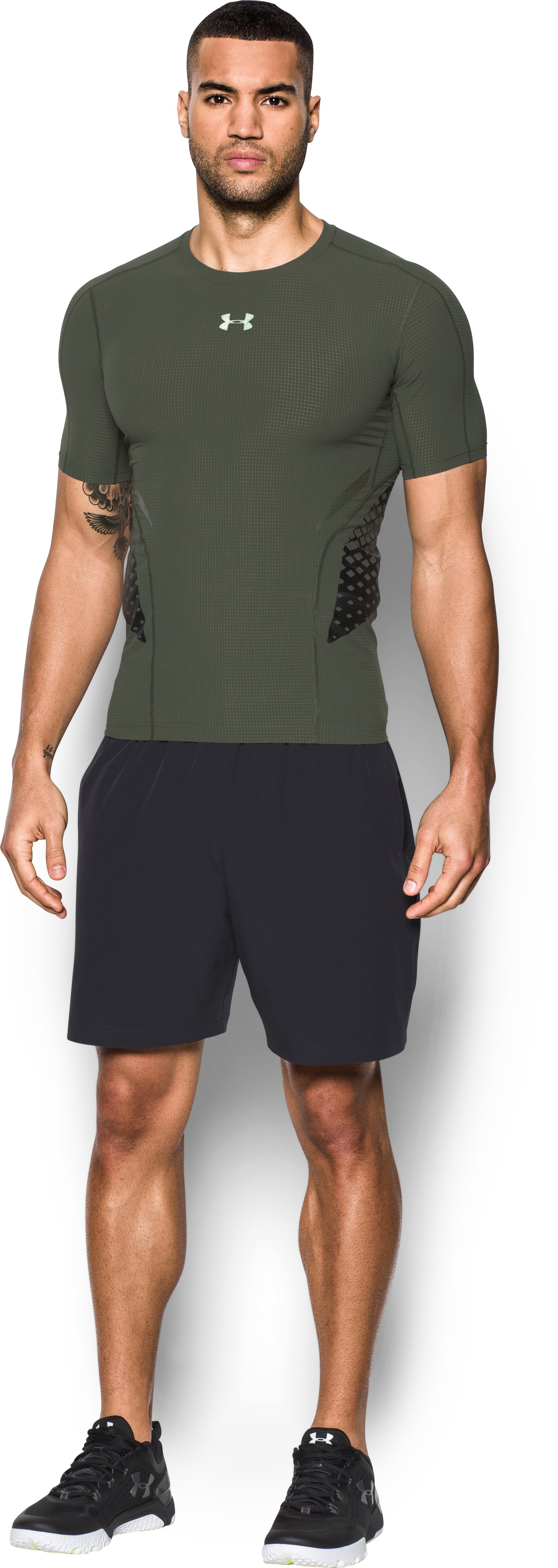 Men's HeatGear® Armour Zone Compression Short Sleeve, DOWNTOWN GREEN, Front