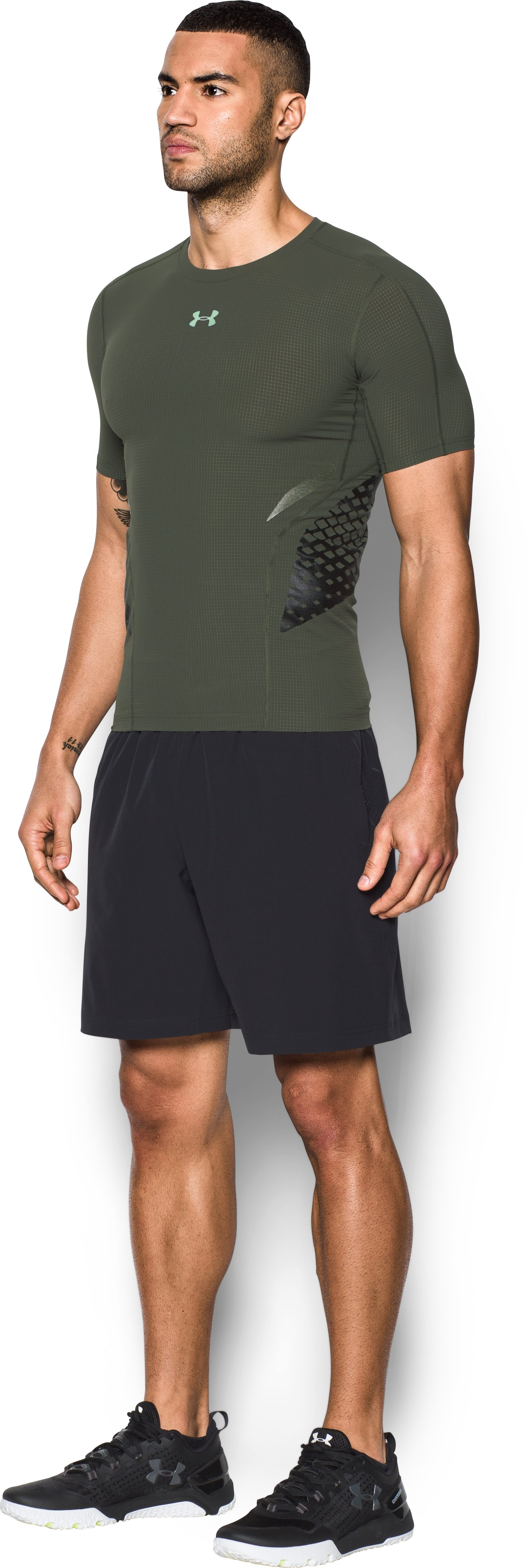 Men's HeatGear® Armour Zone Compression Short Sleeve, DOWNTOWN GREEN, undefined