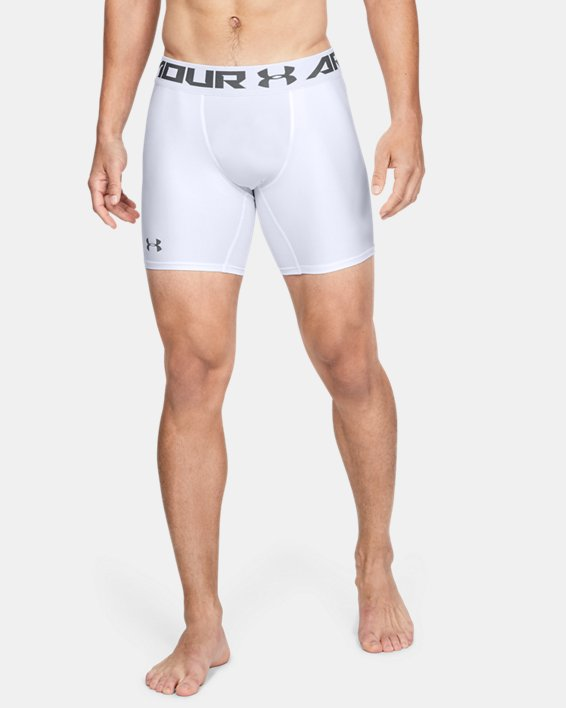 Men's HeatGear® Armour Mid Compression Shorts, White, pdpMainDesktop image number 0