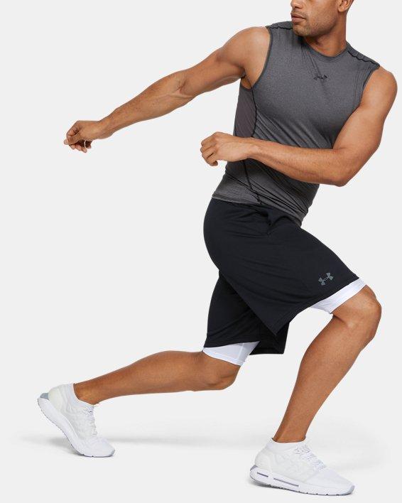 Men's HeatGear® Armour Long Compression Shorts, White, pdpMainDesktop image number 1